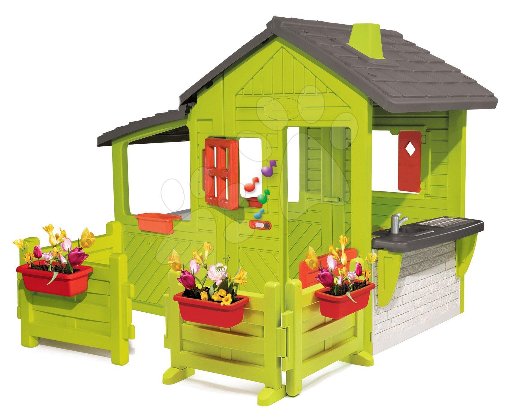 Domeček Zahradník Neo Floralie Smoby se zvonkem, komínem a dvěma zahrádkami