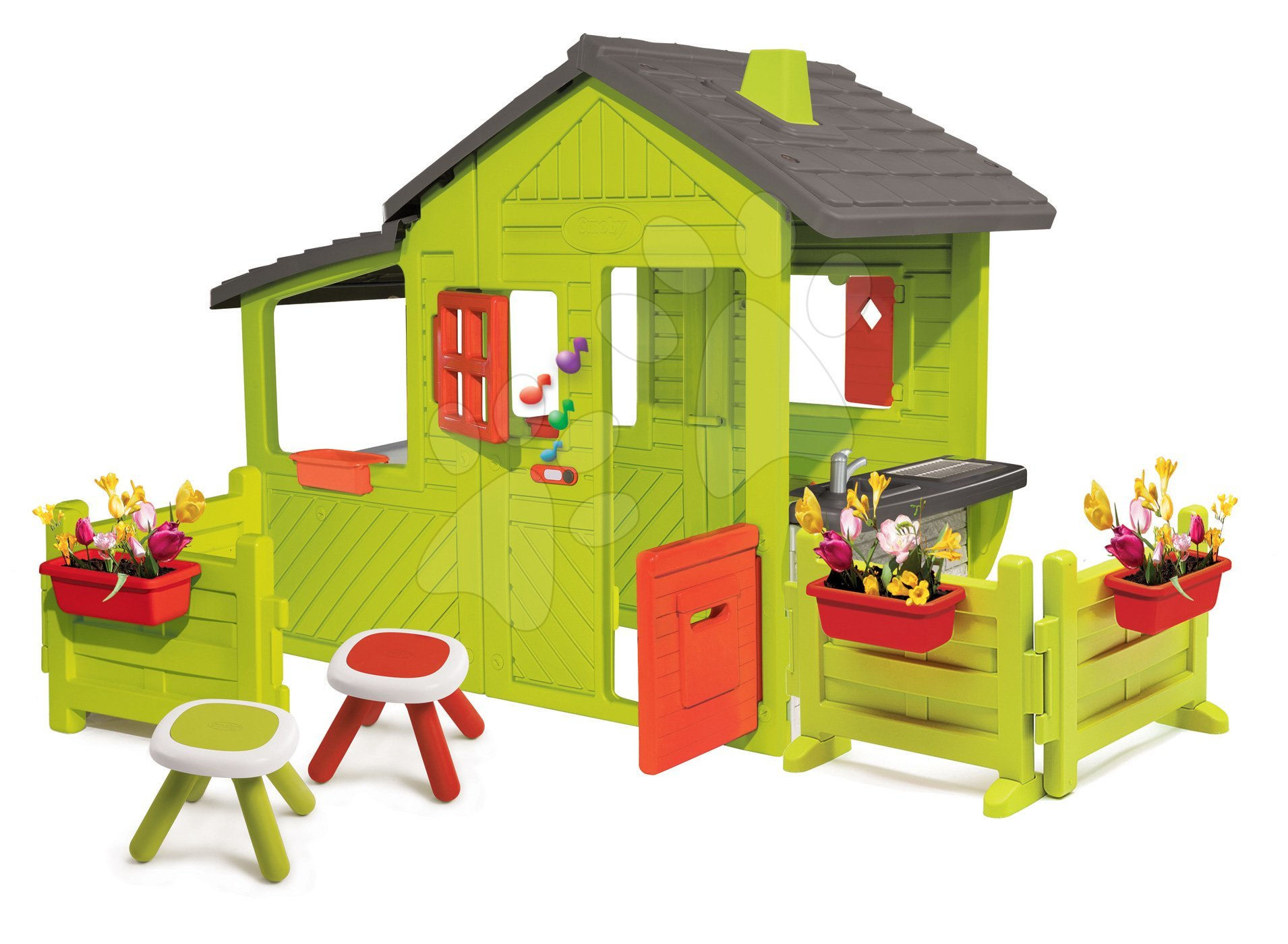 Házikó Kertész Neo Floralie Smoby csengővel kéménnyel két előkerttel és két asztalkával