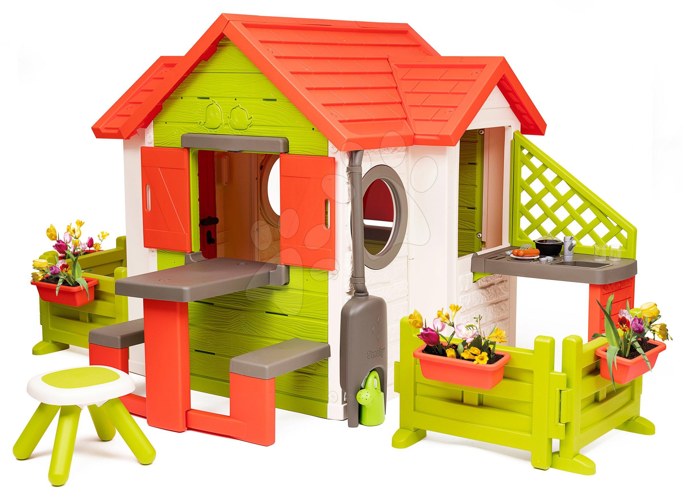 Domeček My Neo House DeLuxe Smoby s kuchyňkou, zahrádkou a stolečkem k posezení od 24 měsíců