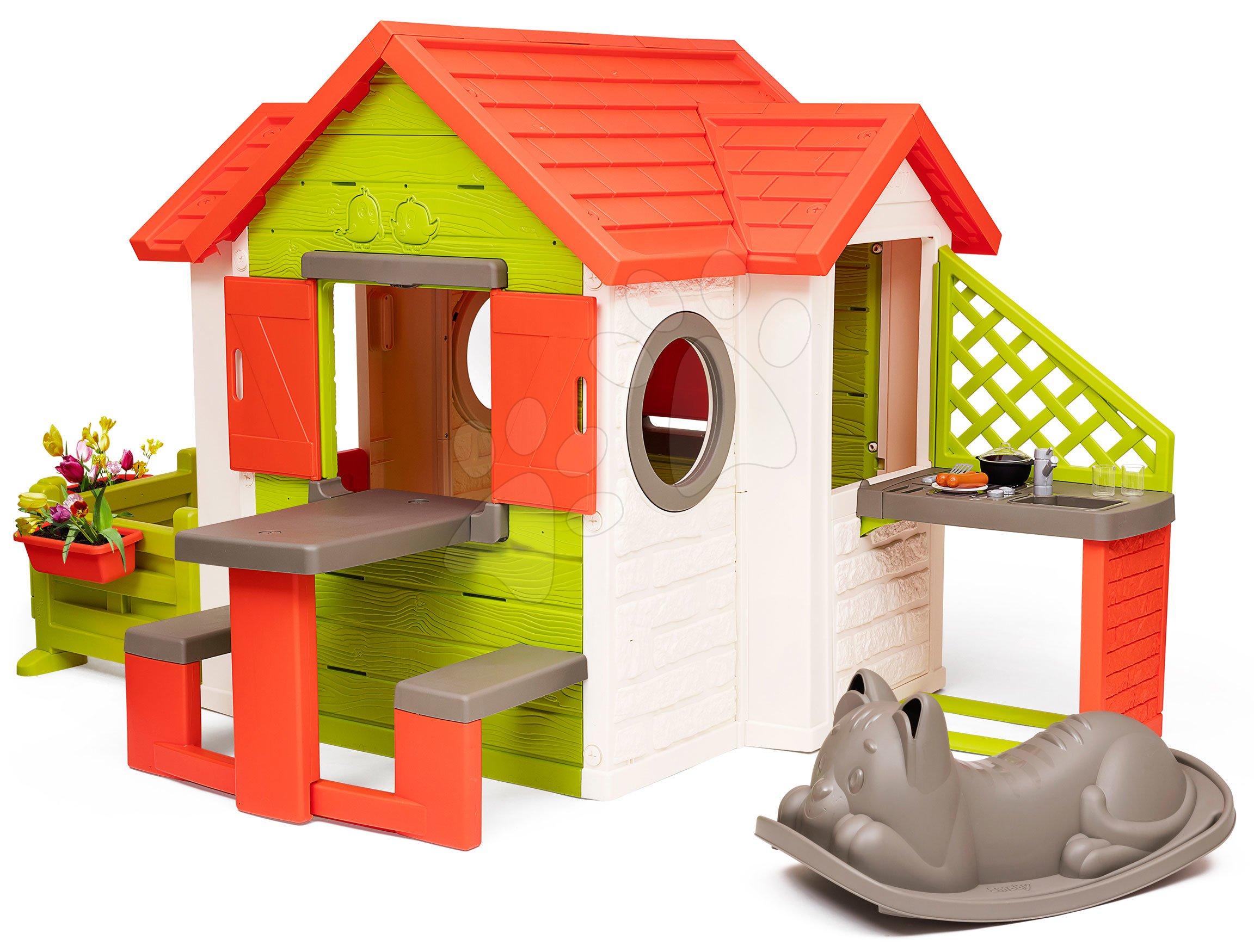 Domček My Neo House DeLuxe Smoby s nadstavbovým riešením a hojdačkou od 24 mes