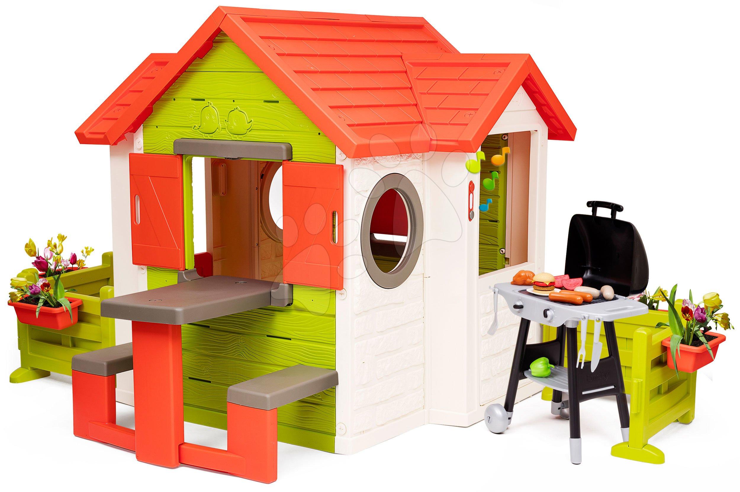 Căsuța My Neo House DeLuxe Smoby cu grătar și grădină în spatele căsuței