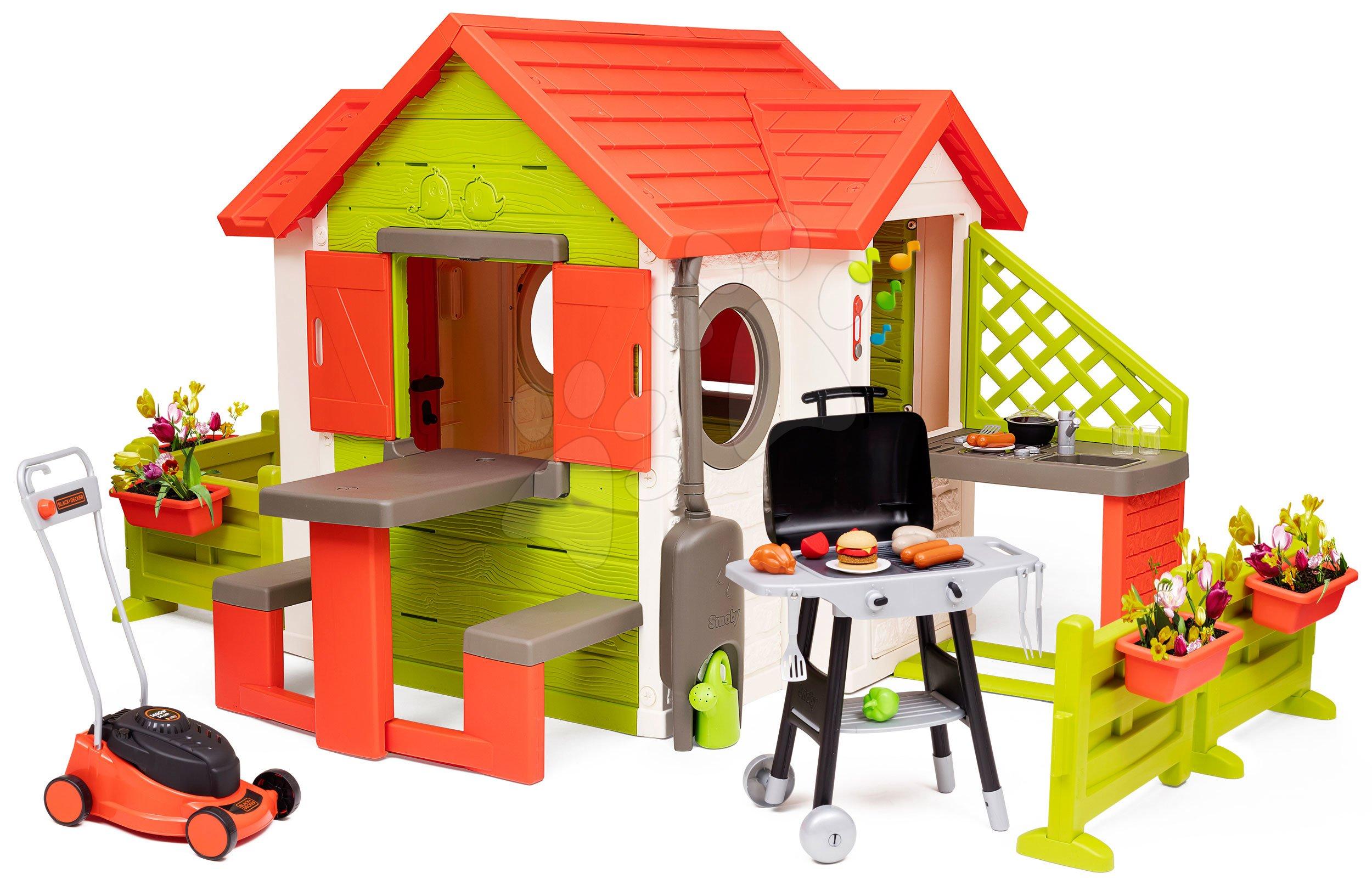Căsuță My Neo House DeLuxe Smoby varianta extinsă cu grill de grădină și mașină de tuns iarbă Black&Decker