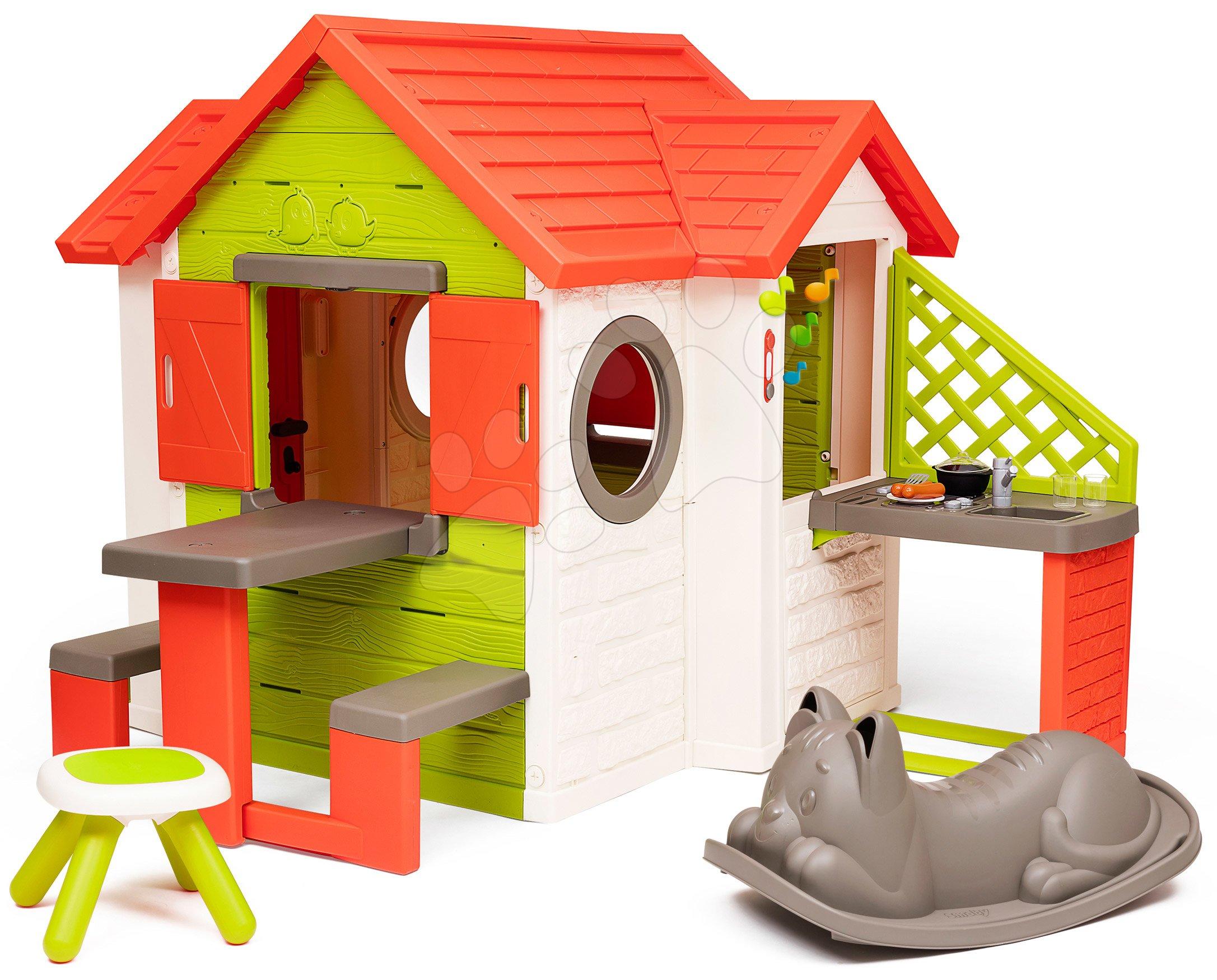 Căsuță My Neo House DeLuxe Smoby varianta extinsă cu balansoar și taburet