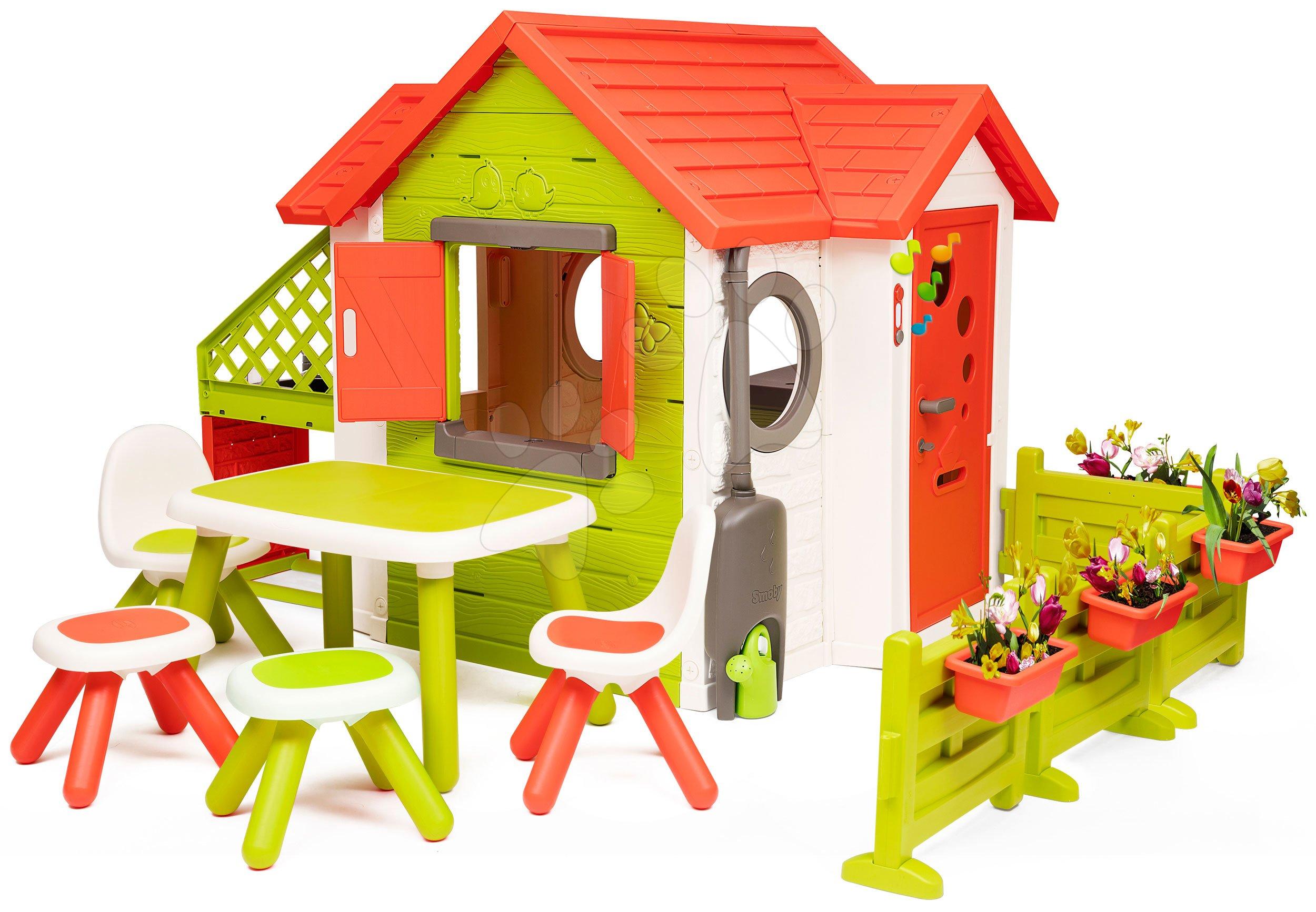 Căsuța My Neo House DeLuxe Smoby XL varianta extinsă și masă cu 2 scaune și 2 tabureți