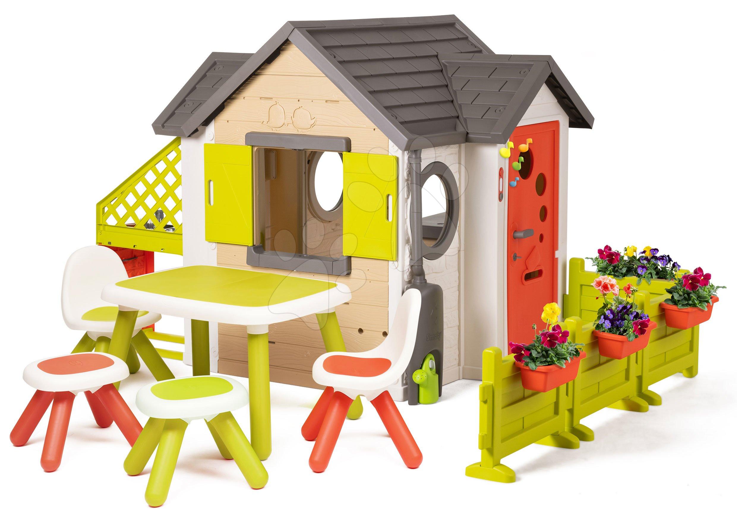 Domček My Neo House DeLuxe Smoby s XL nadstavbovým riešením a stôl s 2 stoličkami a 2 stolčekmi