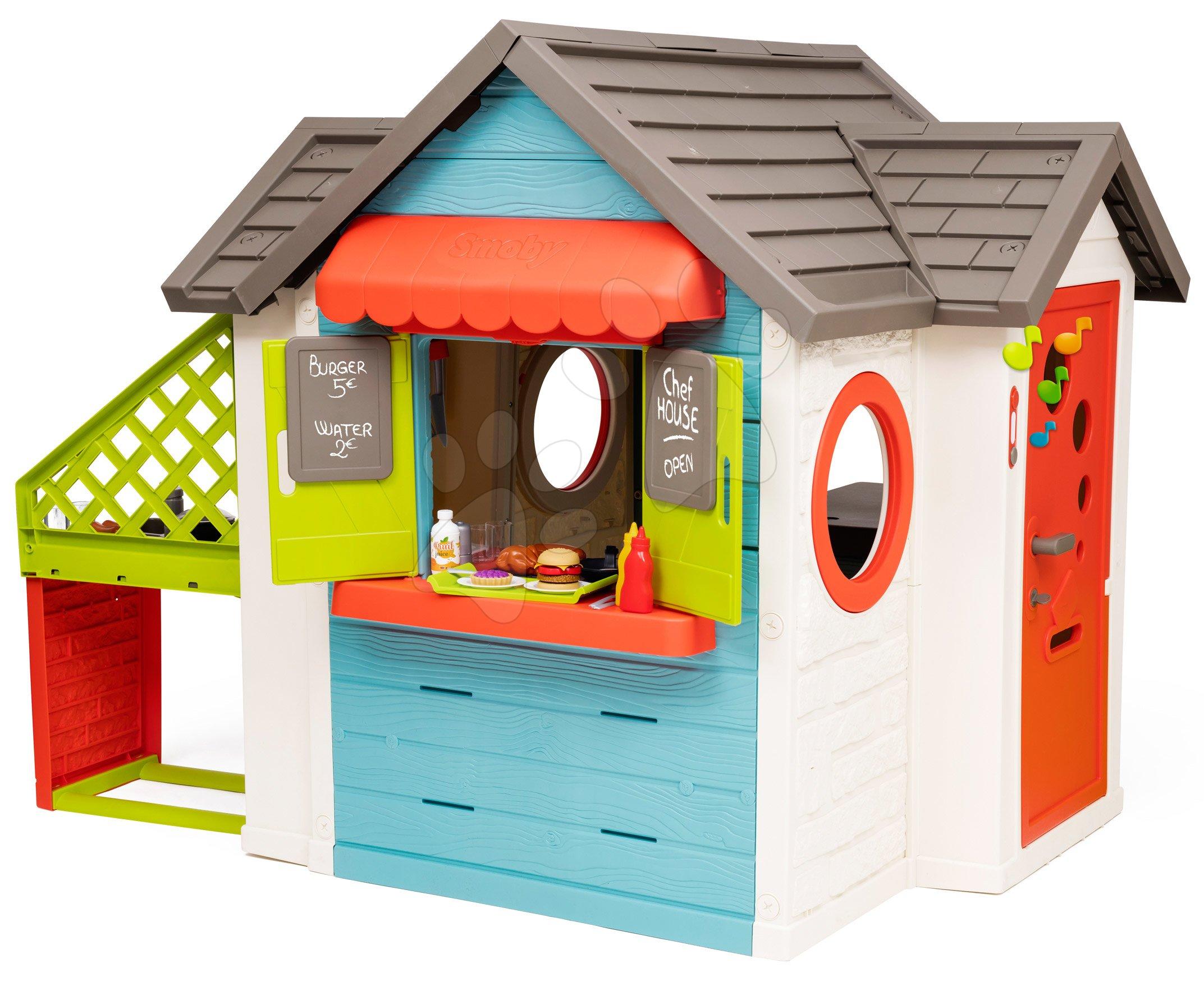 Domček so záhradnou reštauráciou Chef House DeLuxe Smoby s vonkajšou kuchynkou a plné dvere so zvončekom