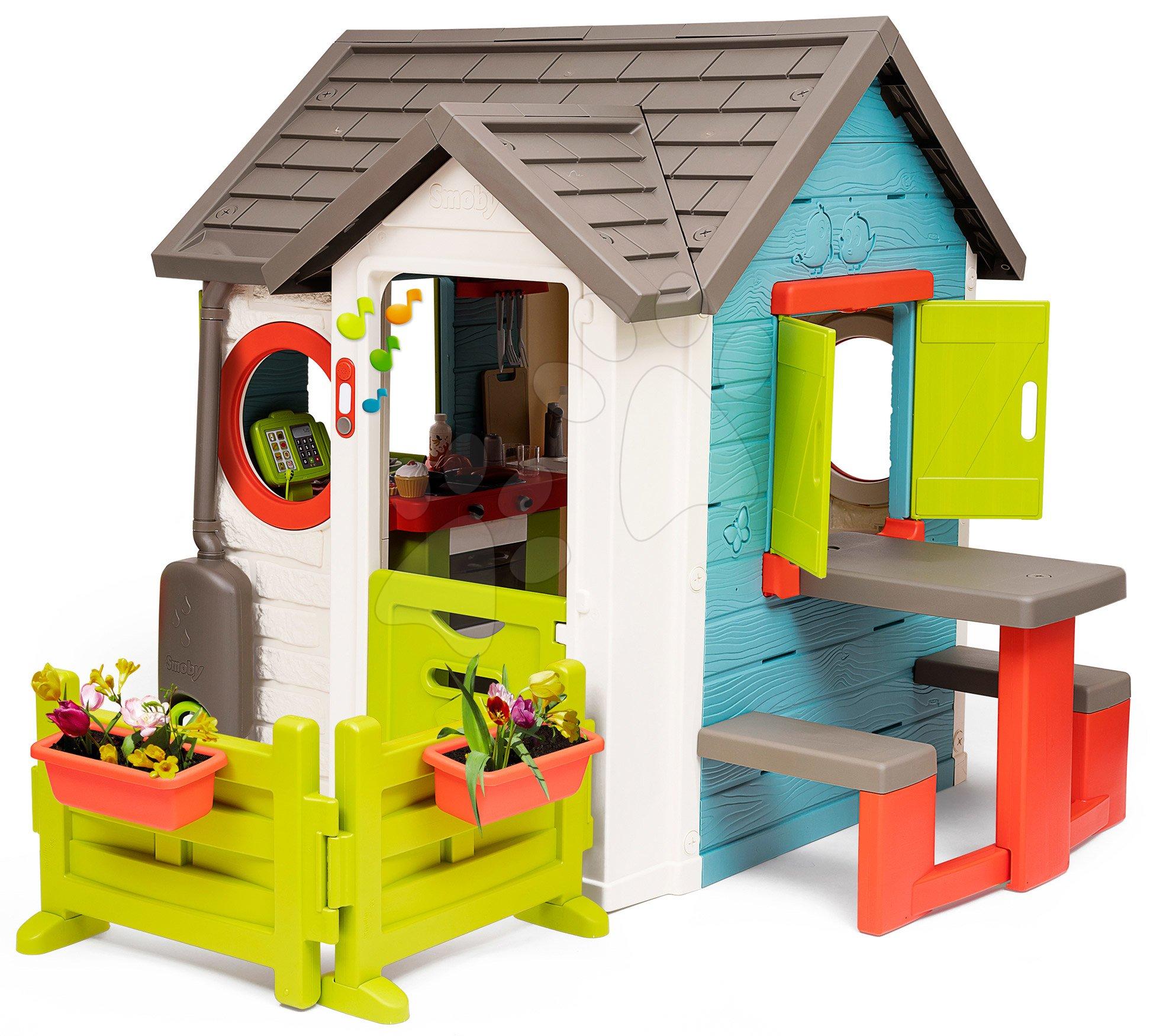 Házikó kerti büfével Chef House DeLuxe Smoby piknik asztallal és előkerttel