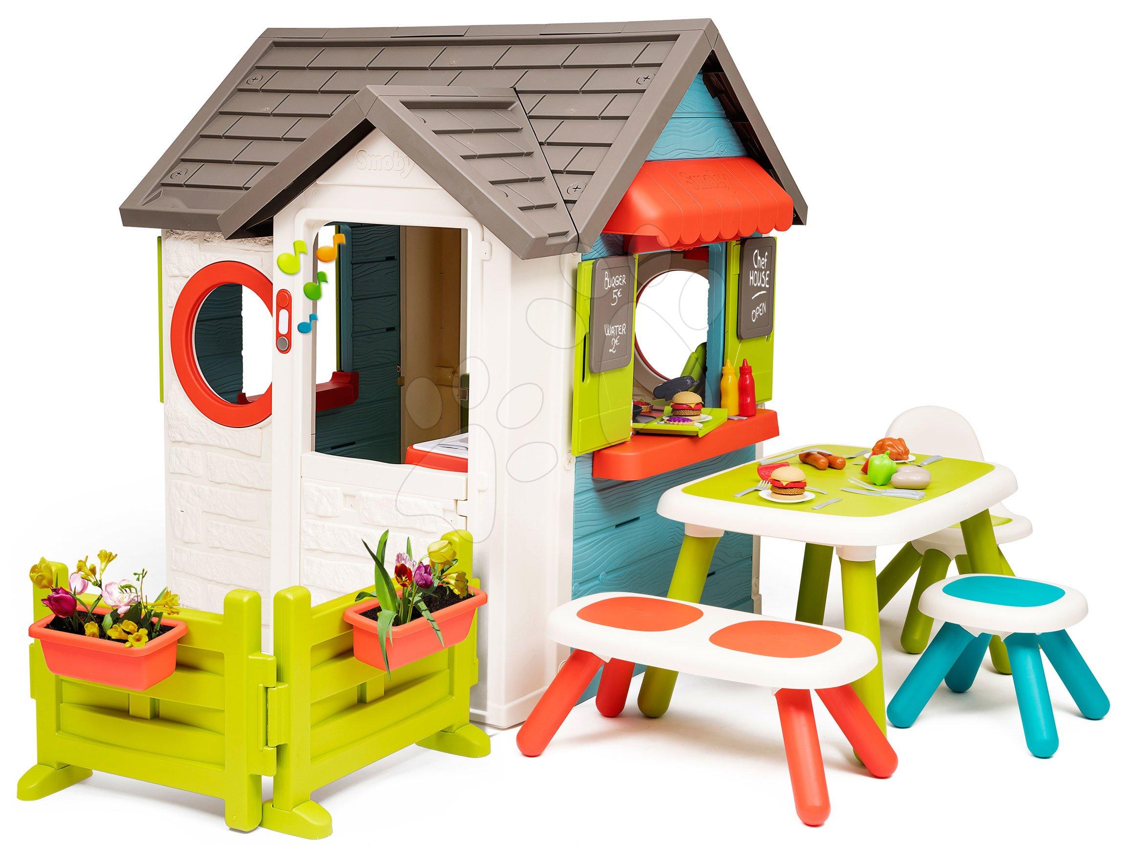Házikó kerti büfével Chef House DeLuxe Smoby kerti bútorokkal és előkerttel