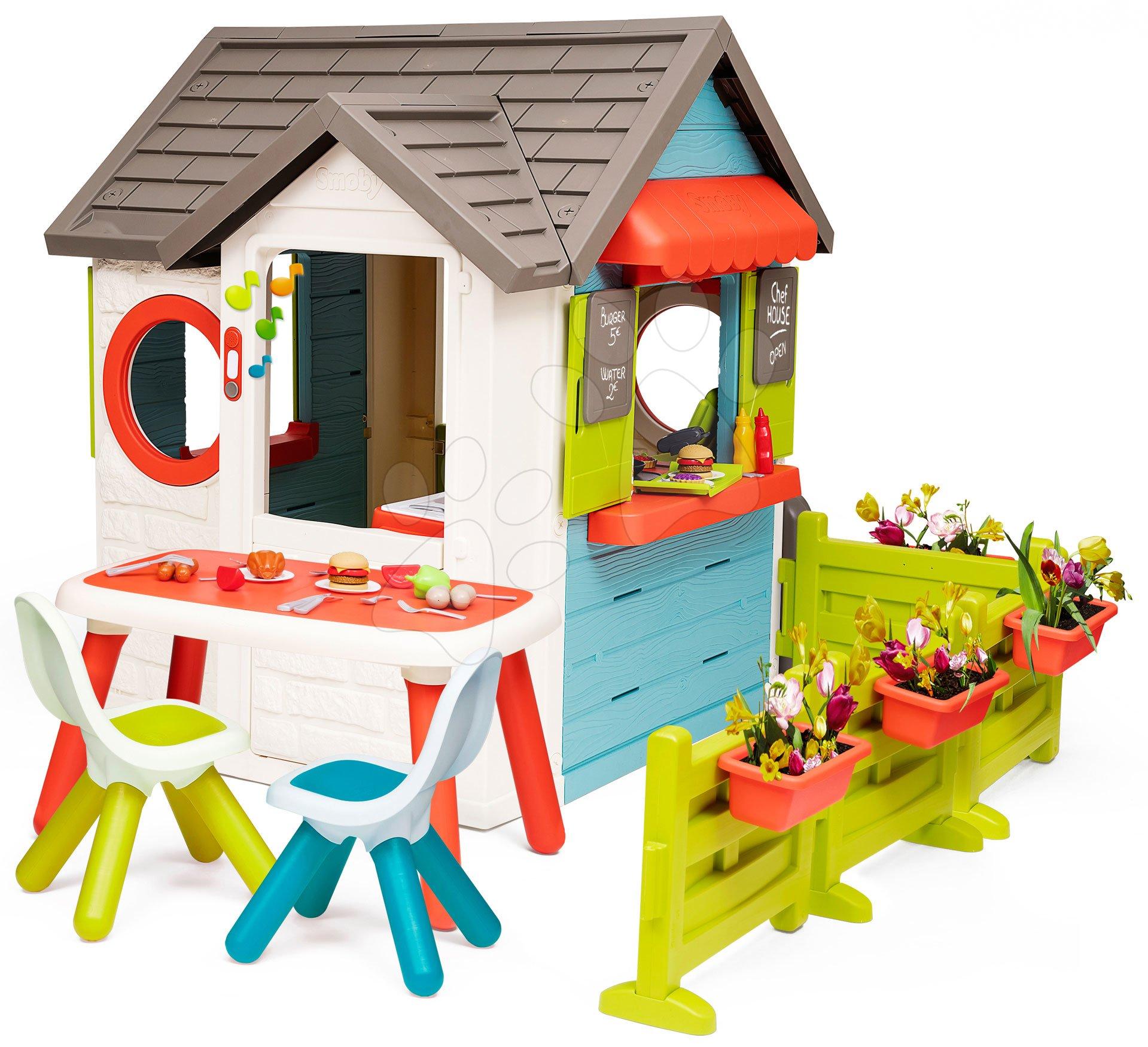 Domček so záhradnou reštauráciou Chef House DeLuxe Smoby so stolom a záhradkami