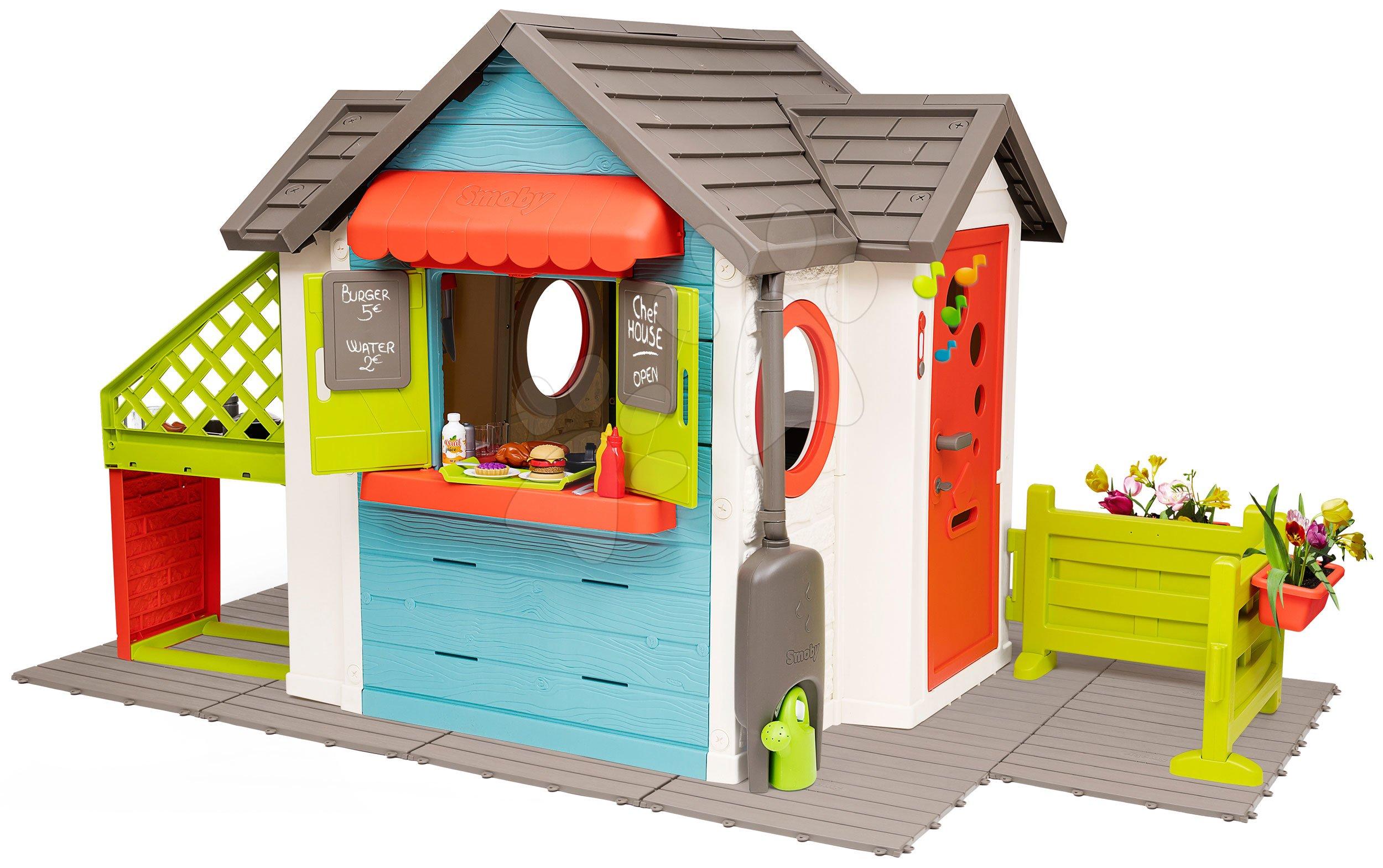 Domček so záhradnou reštauráciou Chef House DeLuxe Smoby s podlahou a s komplet nadstavbovým riešením