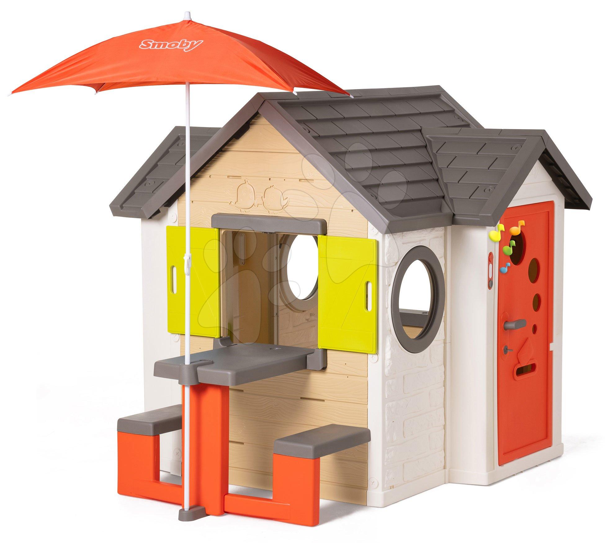 Domček prírodný My New House Smoby rozšíriteľný s lavicou pod slnečníkom od 24 mes