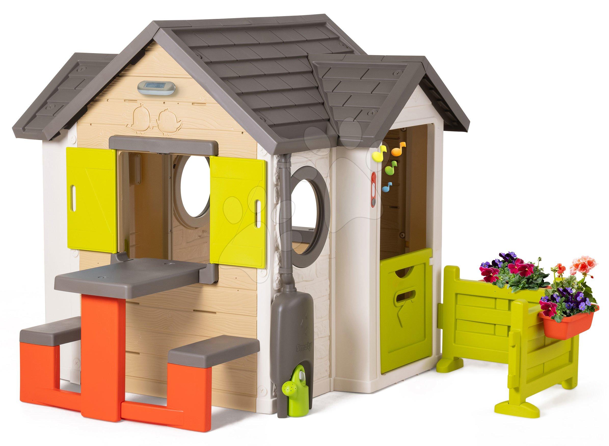 Domček prírodný My New House Smoby rozšíriteľný s lavicou na záhrade od 24 mes