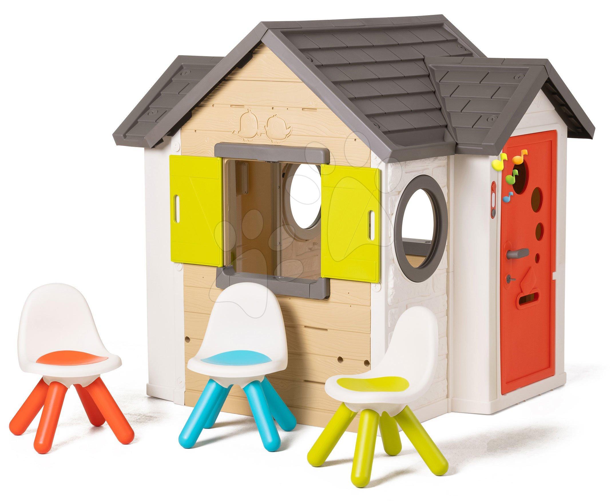 Domček prírodný My New House Smoby rozšíriteľný tri stoličky na priedomí od 24 mes