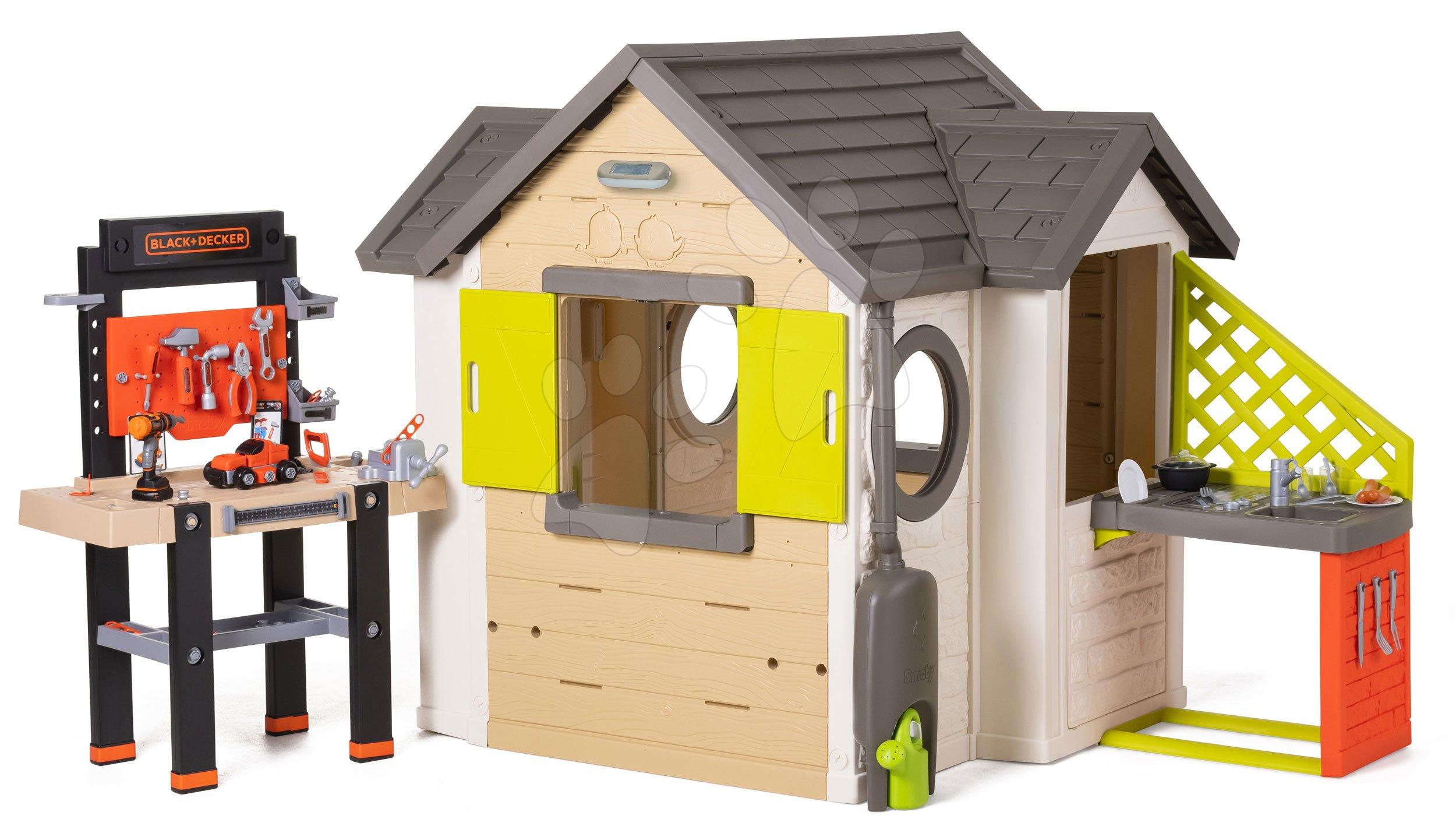 Domeček přírodní My New House Smoby rozšiřitelný s pracovní dílnou a kuchyňkou od 24 měsíců