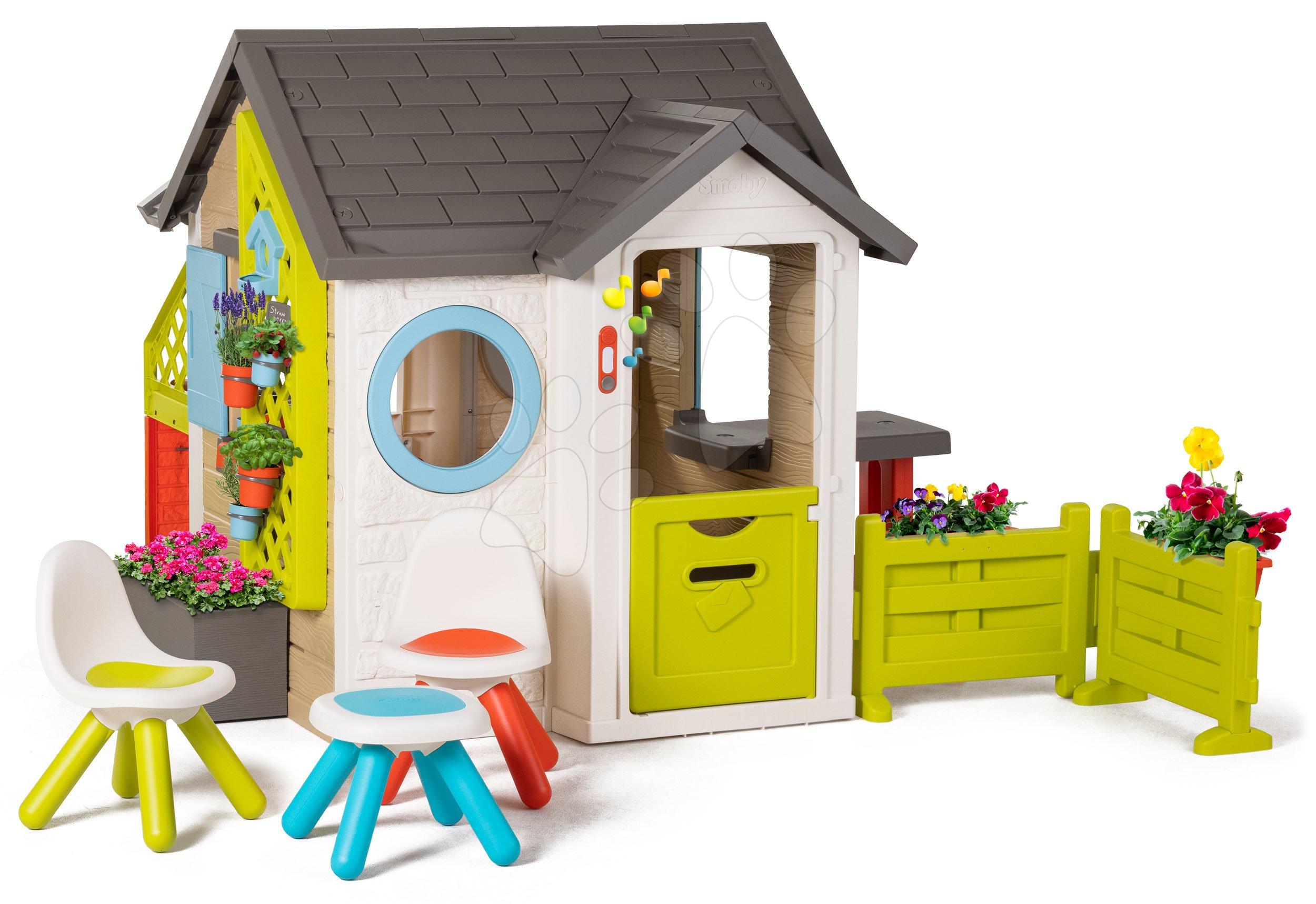 Domček pre záhradníka Garden House Smoby výnimočne rozšíriteľný s troma stoličkami od 24 mes