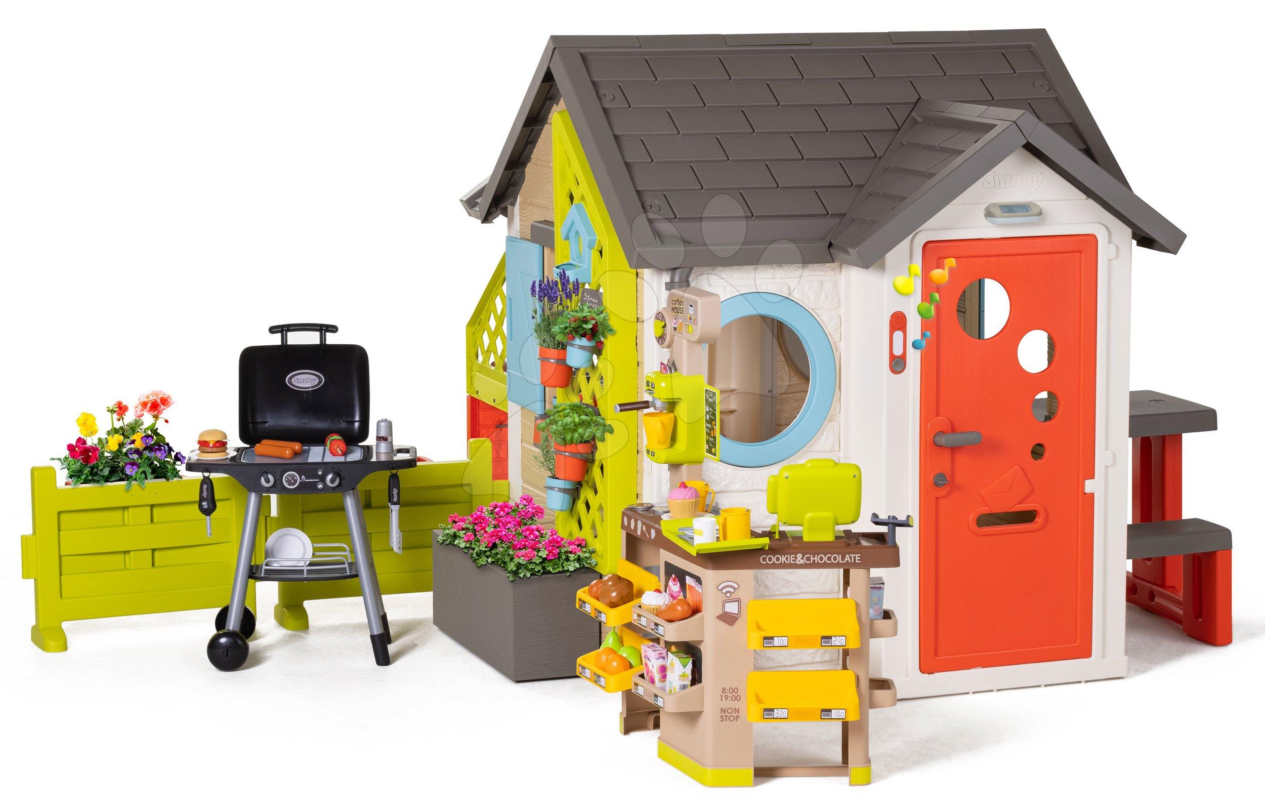Domeček pro zahradníka Garden House Smoby výjimečně rozšiřitelný s Bio kavárnou a grilem na zahrádce od 24 měsíců