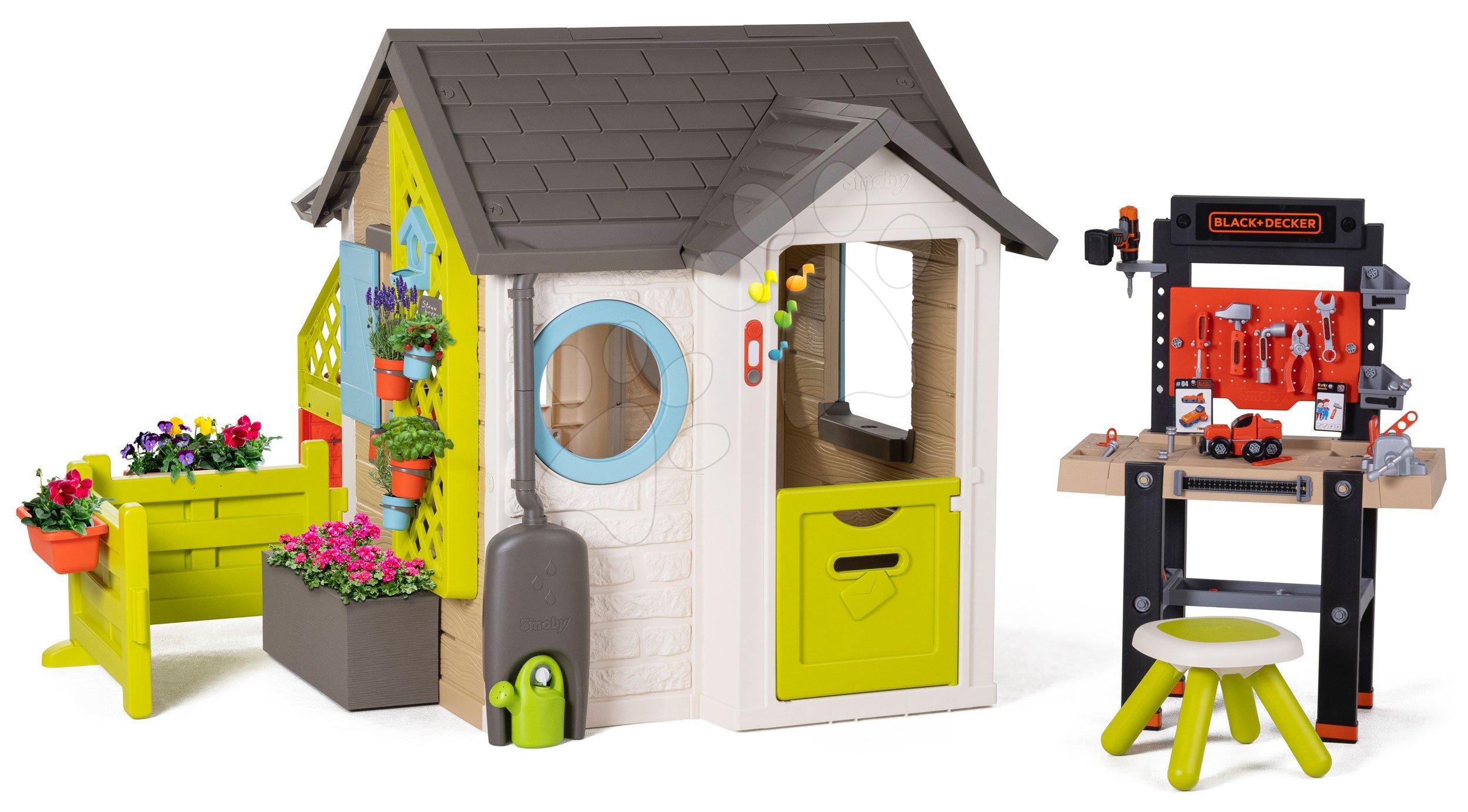 Domeček pro zahradníka Garden House Smoby výjimečně rozšiřitelný s pracovní dílnou