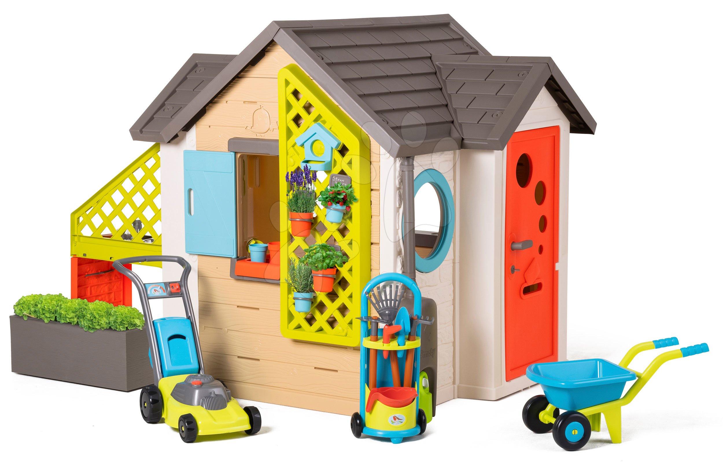 Domček pre záhradníka Garden House Smoby výnimočne rozšíriteľný s kosačkou fúrikom a vozíkom s náradím od 24 mes