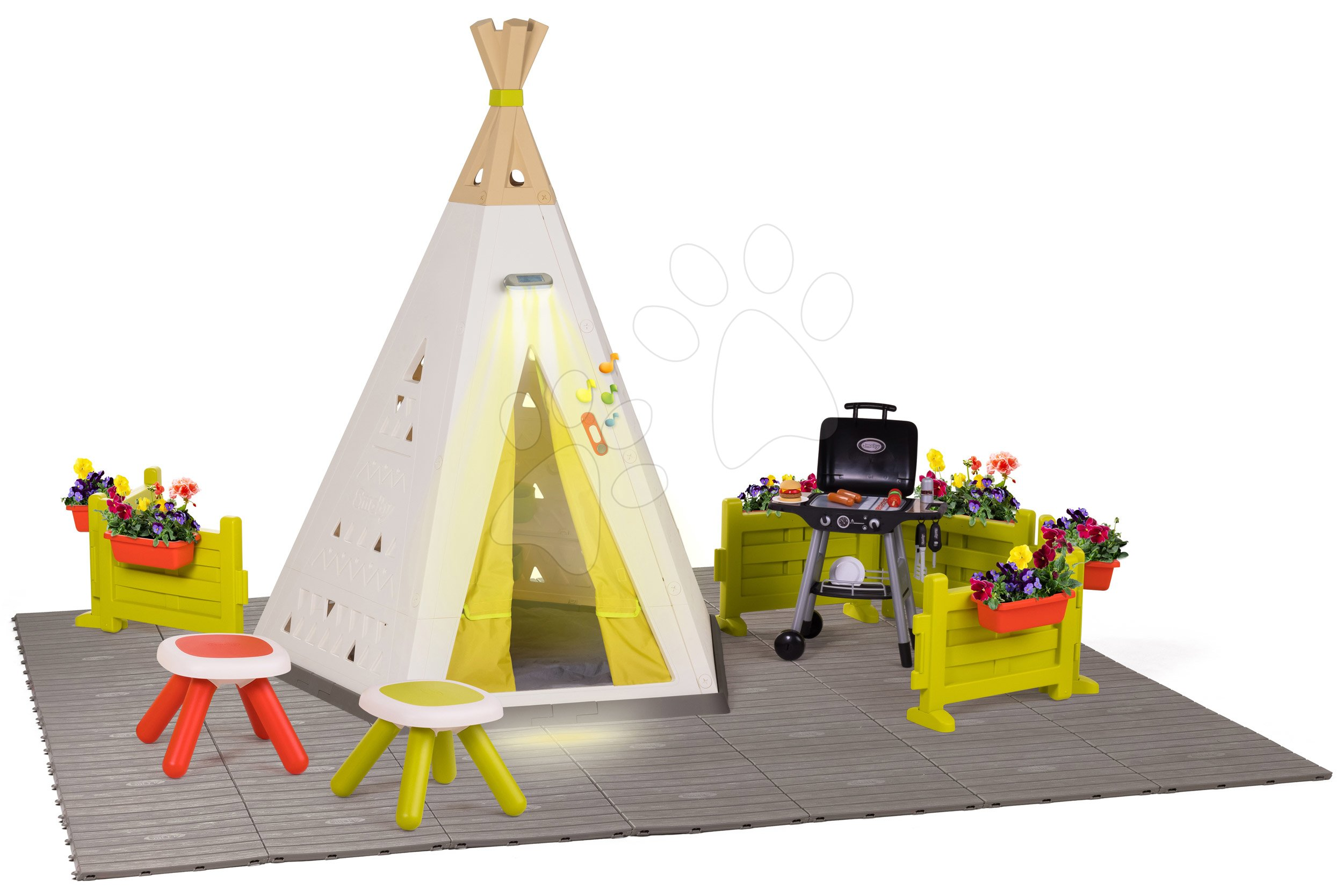 Stan prírodný Indoor&Outdoor Teepee Evolutive Smoby nastaviteľný s luxusným posedením na záhrade pri grilovačke od 24 mes