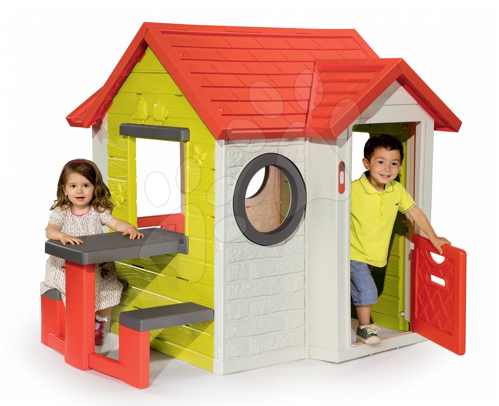 Domeček My House Smoby s 2 dveřmi, elektronickým zvonkem a piknikový stolek