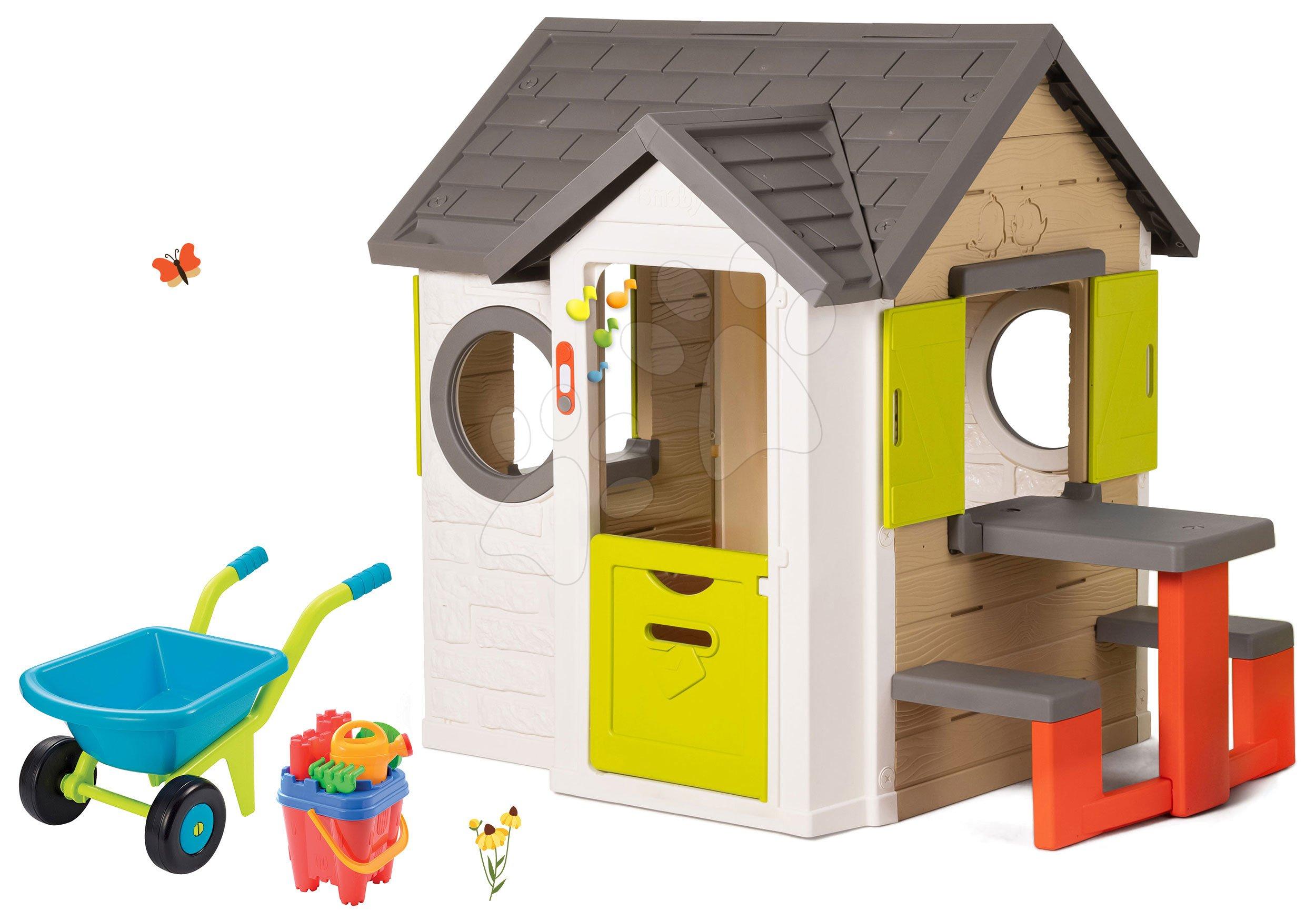 Domčeky s náradím - Set domček My Neo House DeLuxe Smoby so zvončekom a zadným vchodom, fúrik s vedierkom