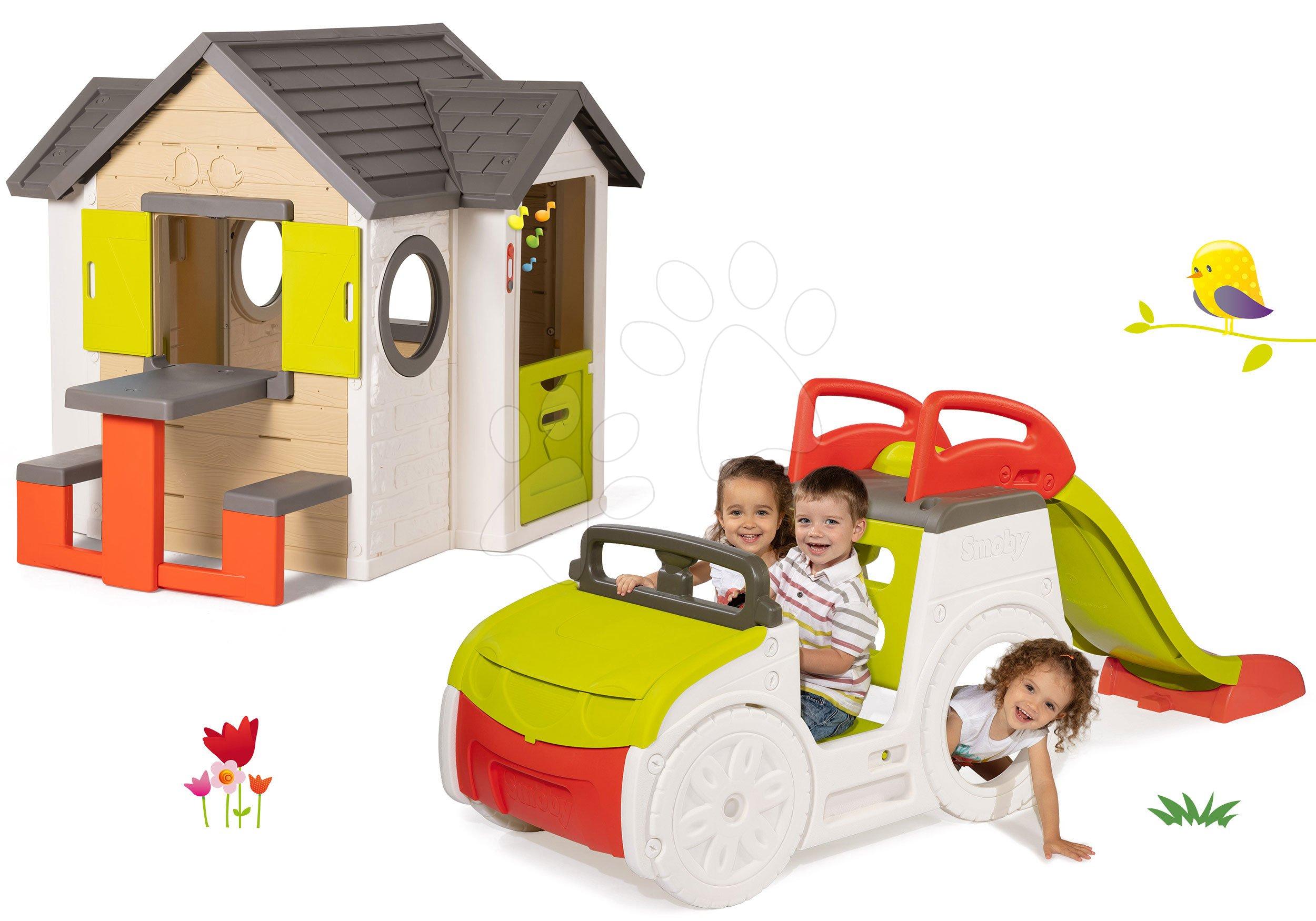 Szett házikó My Neo House DeLuxe Smoby csengővel asztallal és mászóka Adventure Car homokozóval és csúszdával 1,5 m 24 hó-tól