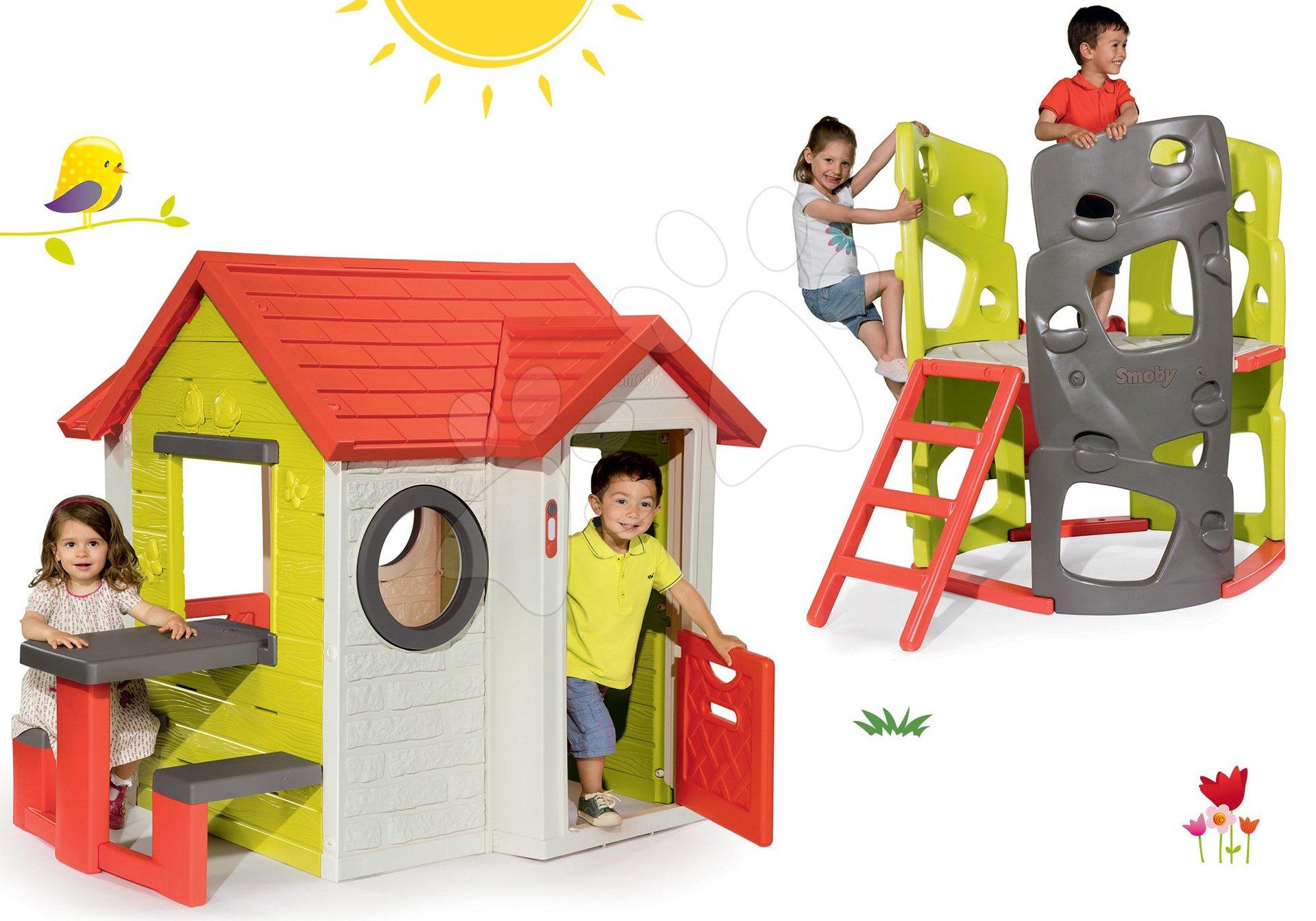 Set domček My House Smoby so zvončekom a 2 dverami a preliezačka Multiactivity Climbing Tower so šmykľavkou od 24 mes