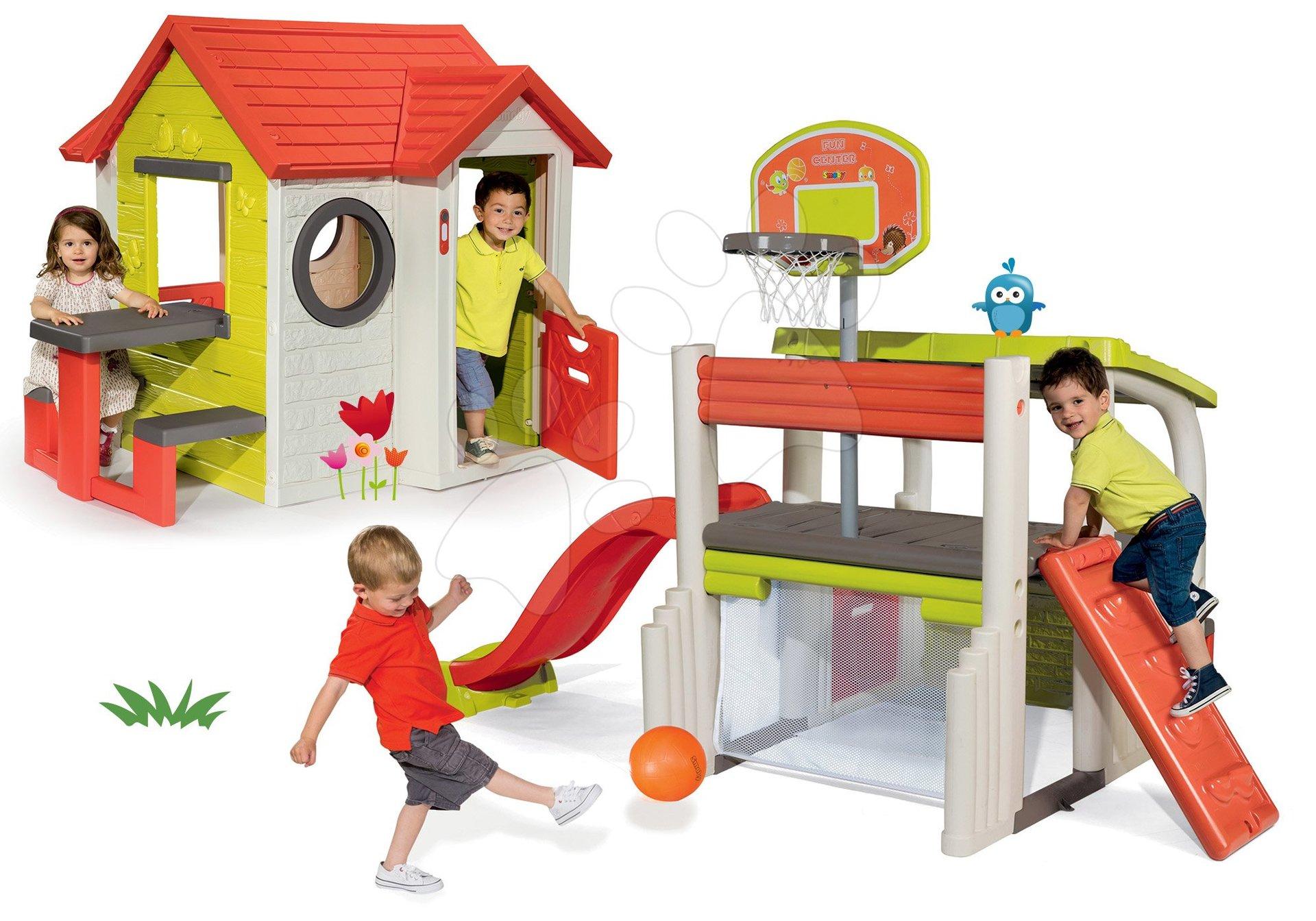 Set domček My House Smoby so zvončekom a 2 dverami a hracie centrum Fun Center so šmykľavkou od 24 mes