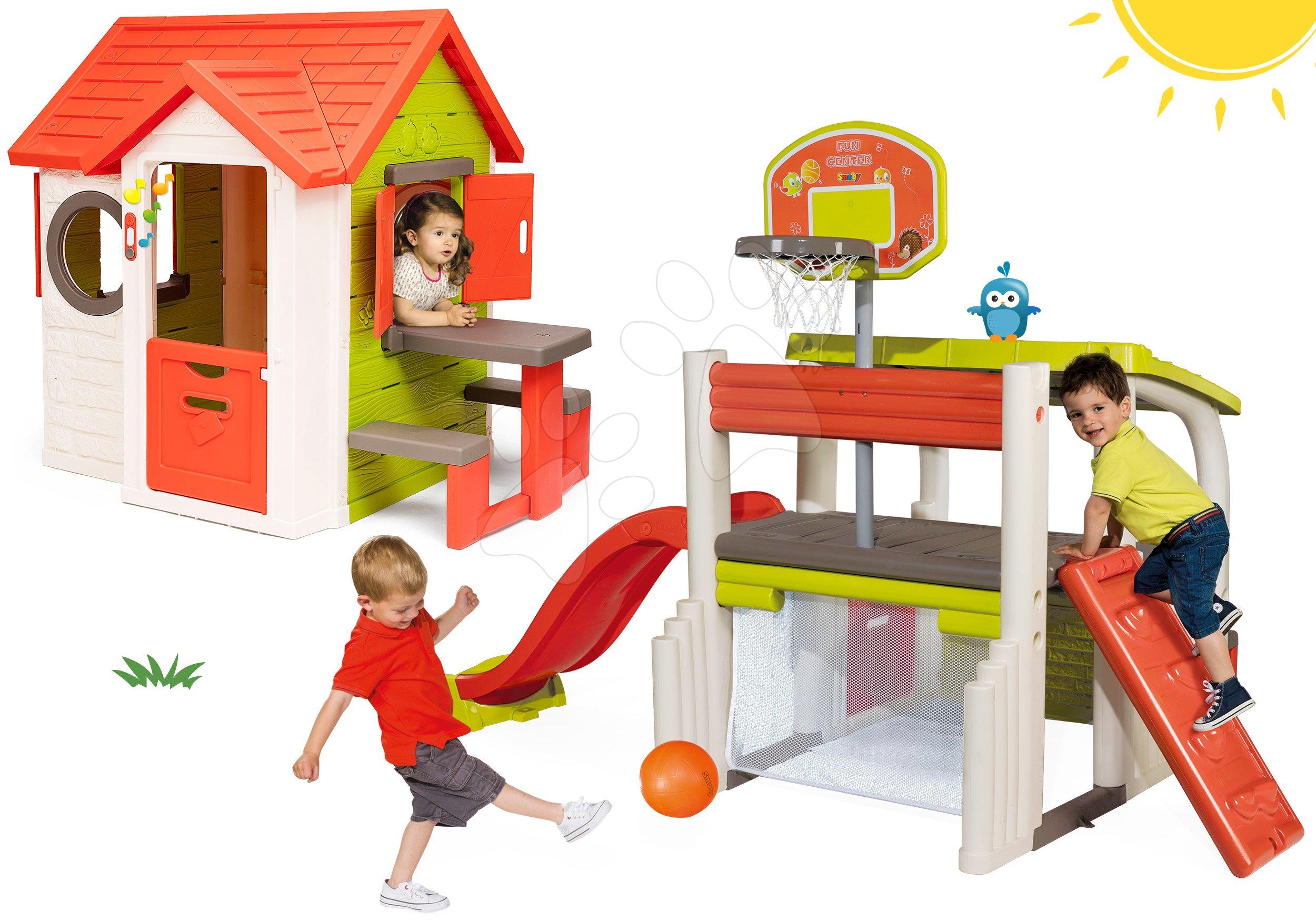 Set căsuţă My Neo House DeLuxe Smoby cu sonerie intrare prin spate 2 uşi şi centru de joacă Fun Center cu tobogan de la 24 luni