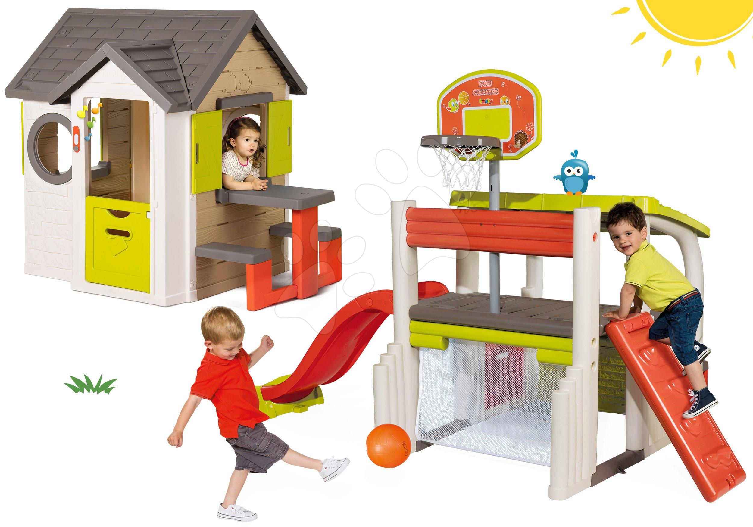 Smoby set domček My House so zvončekom a 2 dverami a hracie centrum Fun Center so šmykľavkou 810401-13
