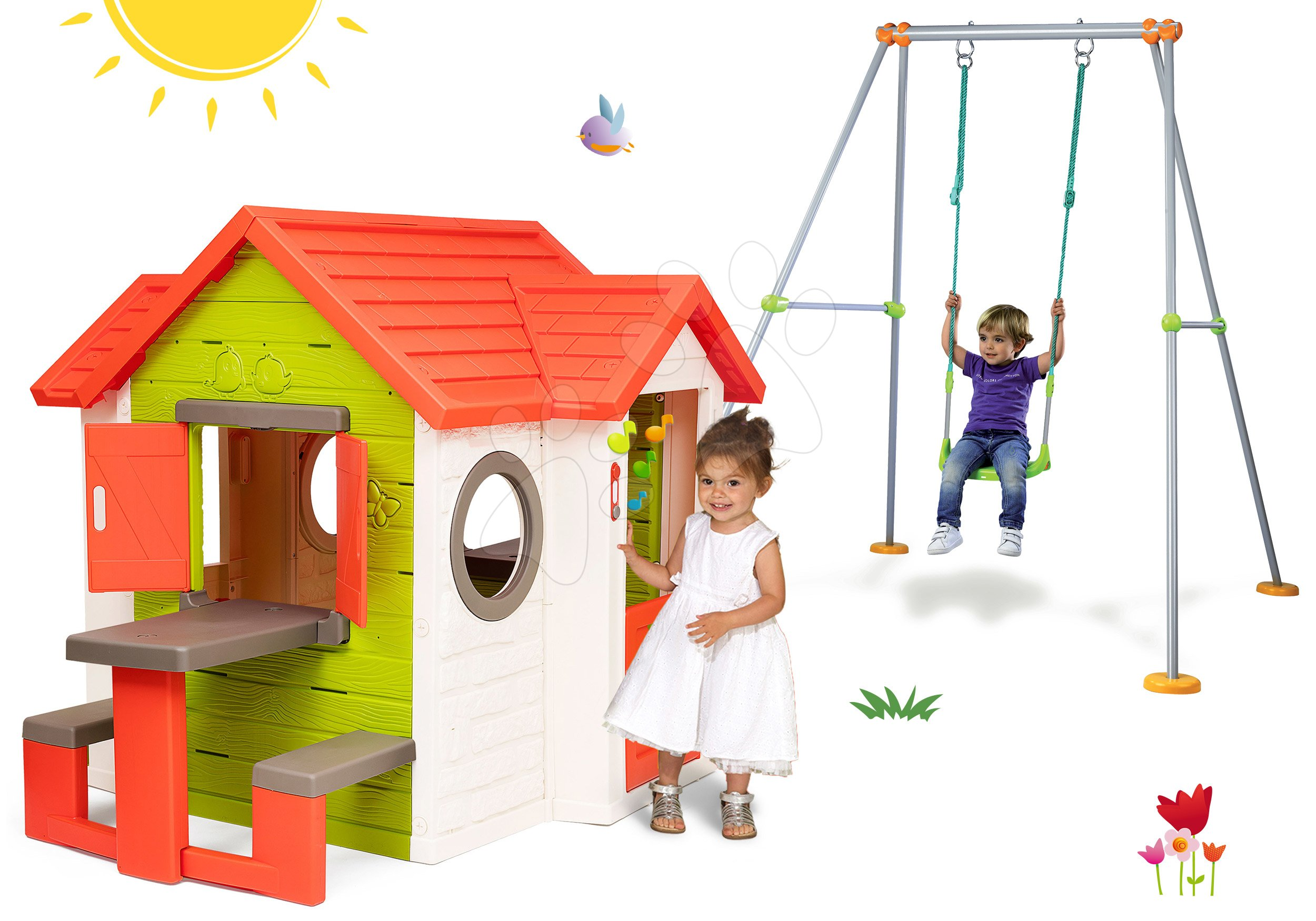 Set domček My Neo House DeLuxe Smoby so zvončekom stolíkom a hojdačka Portique s kovovou konštrukciou 180 cm od 24 mes