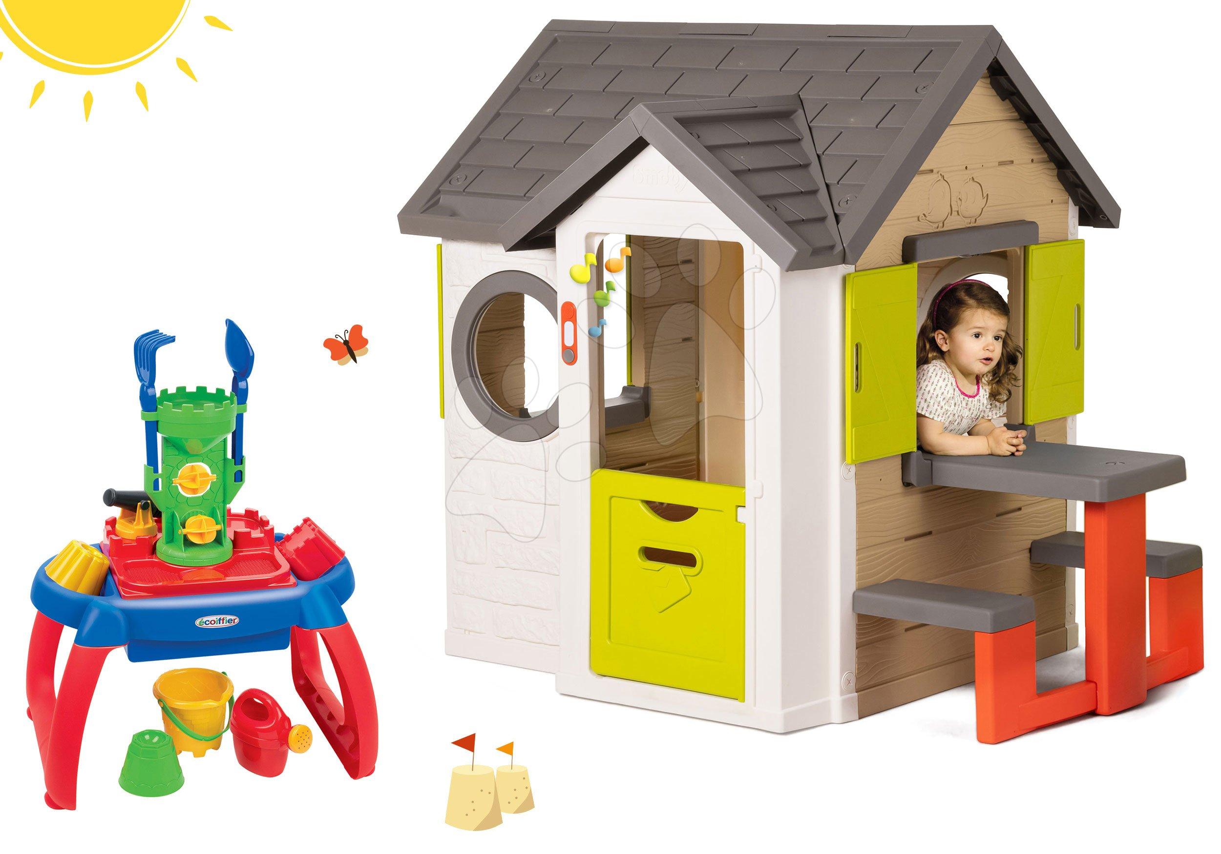 Smoby set detský domček My House Smoby so zvončekom a pieskovisko stolík na vodu a piesok s doplnkami 810401-15