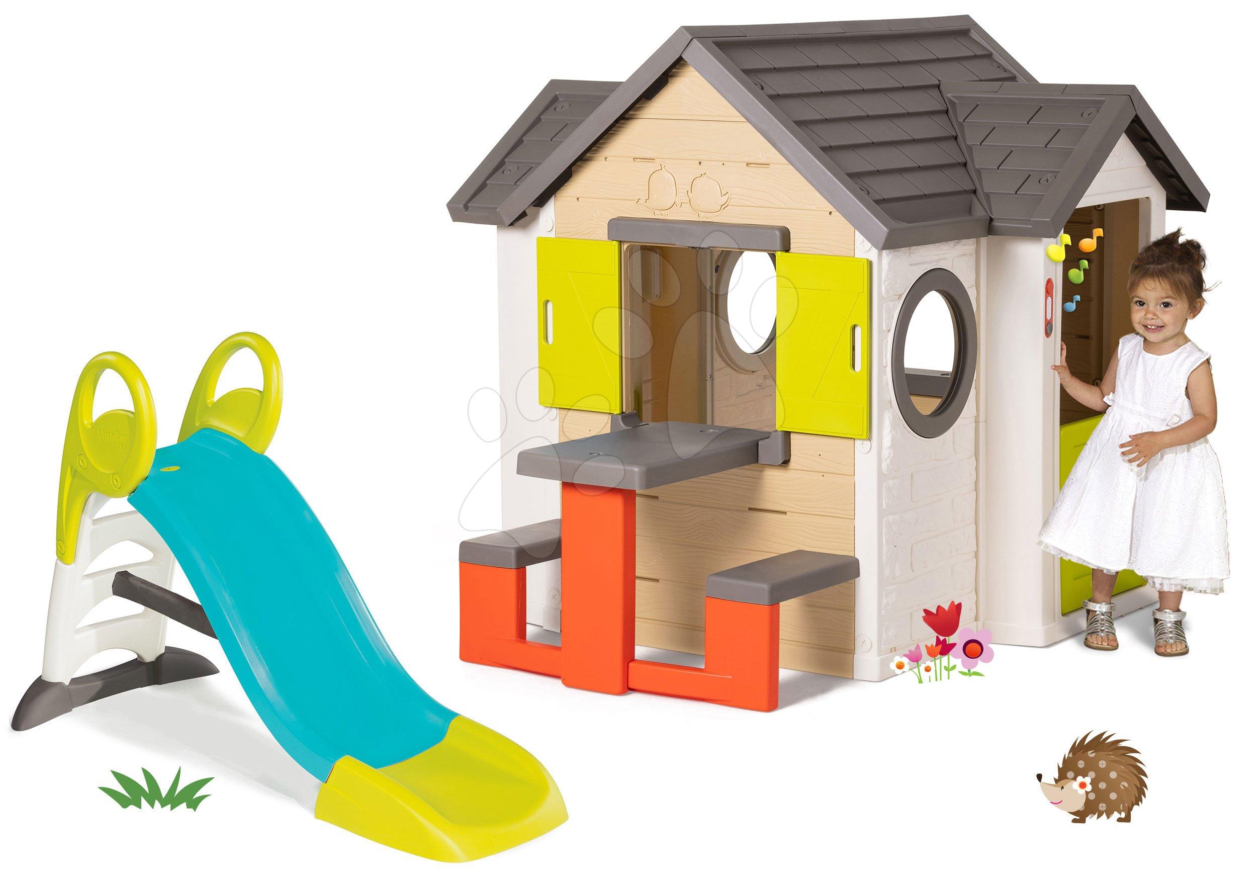 Szett házikó My Neo House DeLuxe Smoby csengővel asztallal és csúszda Toboggan KS vízzel 1,5 m hosszú 24 hó-tól