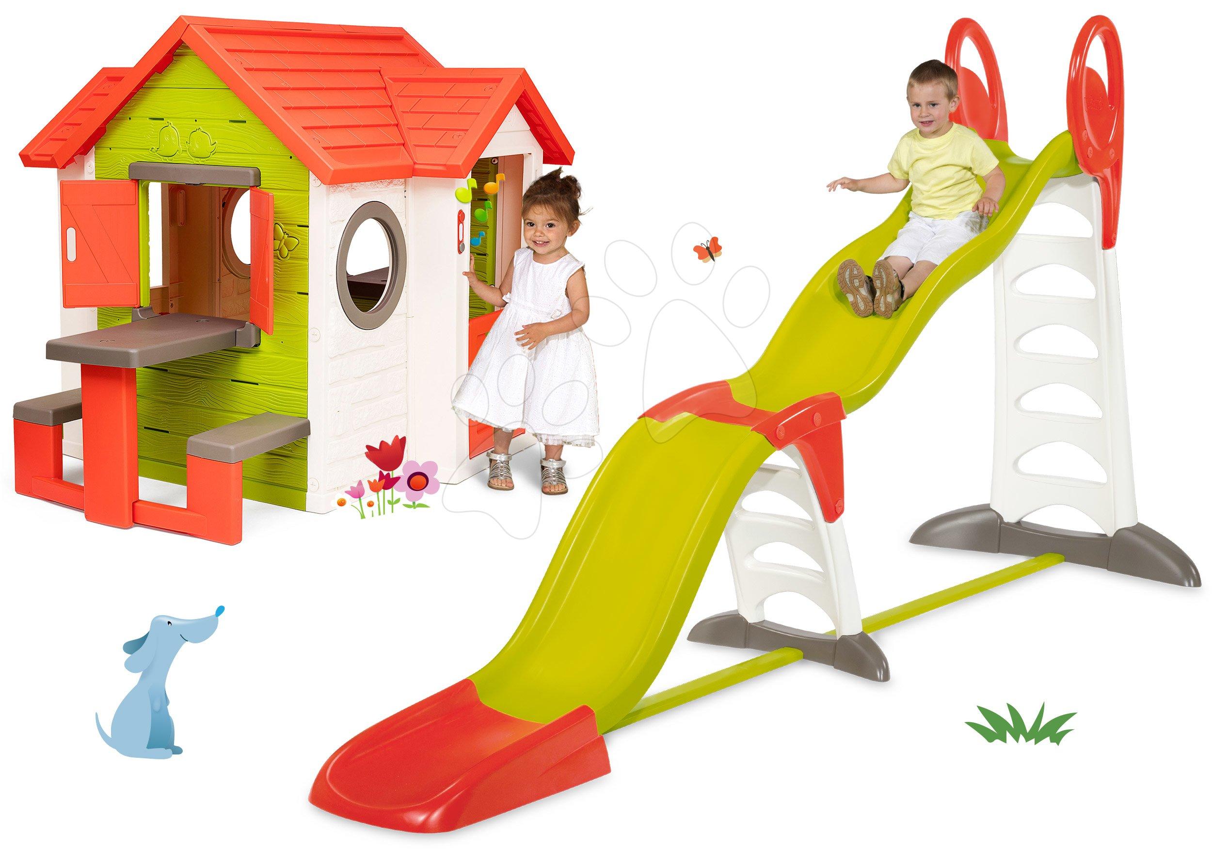 Set domček My Neo House DeLuxe Smoby so zvončekom stolíkom a šmykľavka Toboggan Super Megagliss 2v1 dĺžka 3,75/1,5 m od 24 mes