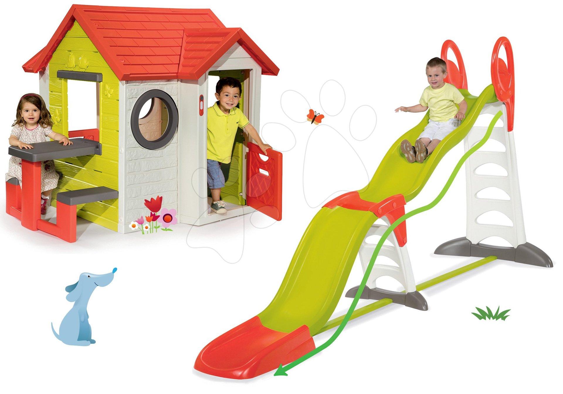 Set domeček My House se zvonkem Smoby a skluzavka Toboggan Super Megagliss 2v1 délka 3,75/1,5 m od 24 měsíců