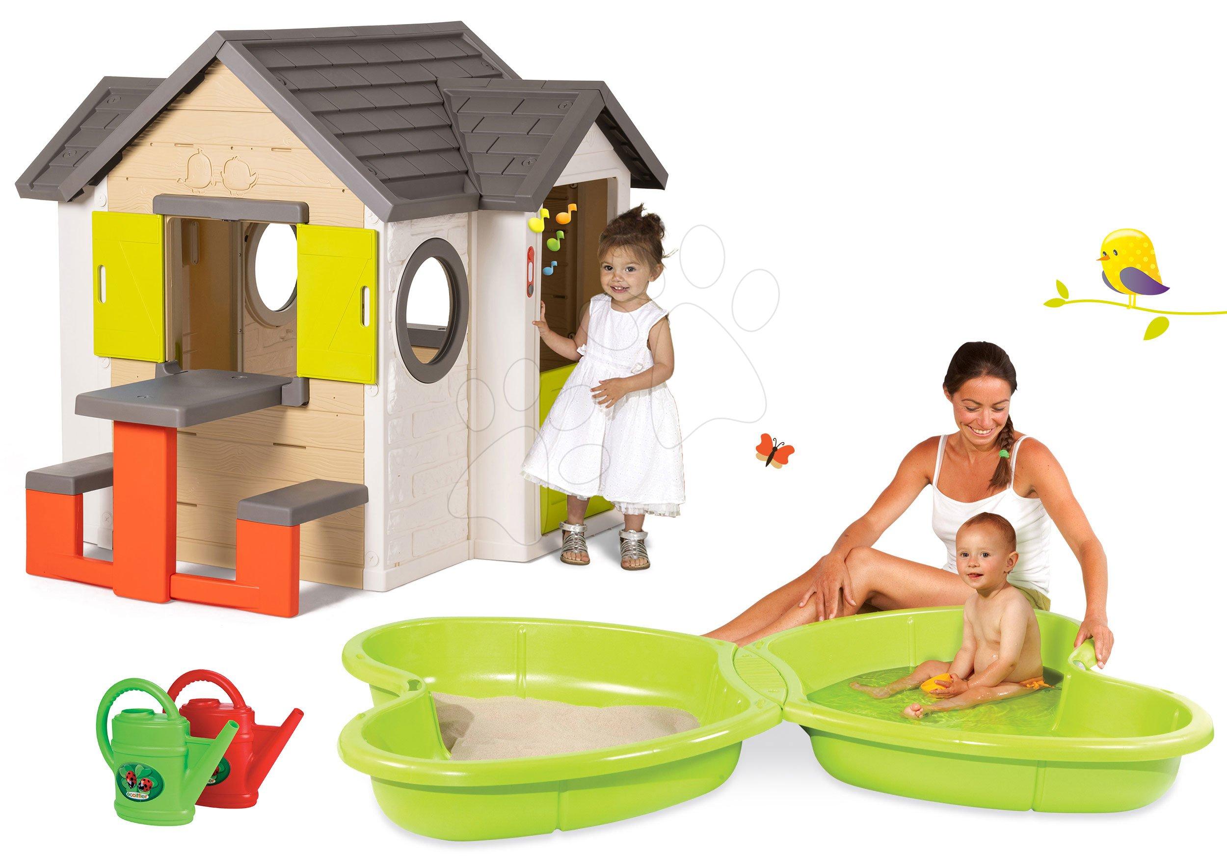 Smoby set detský domček My House Smoby so zvončekom a pieskovisko Motýľ s vodotryskom a krhličkou 810401-20
