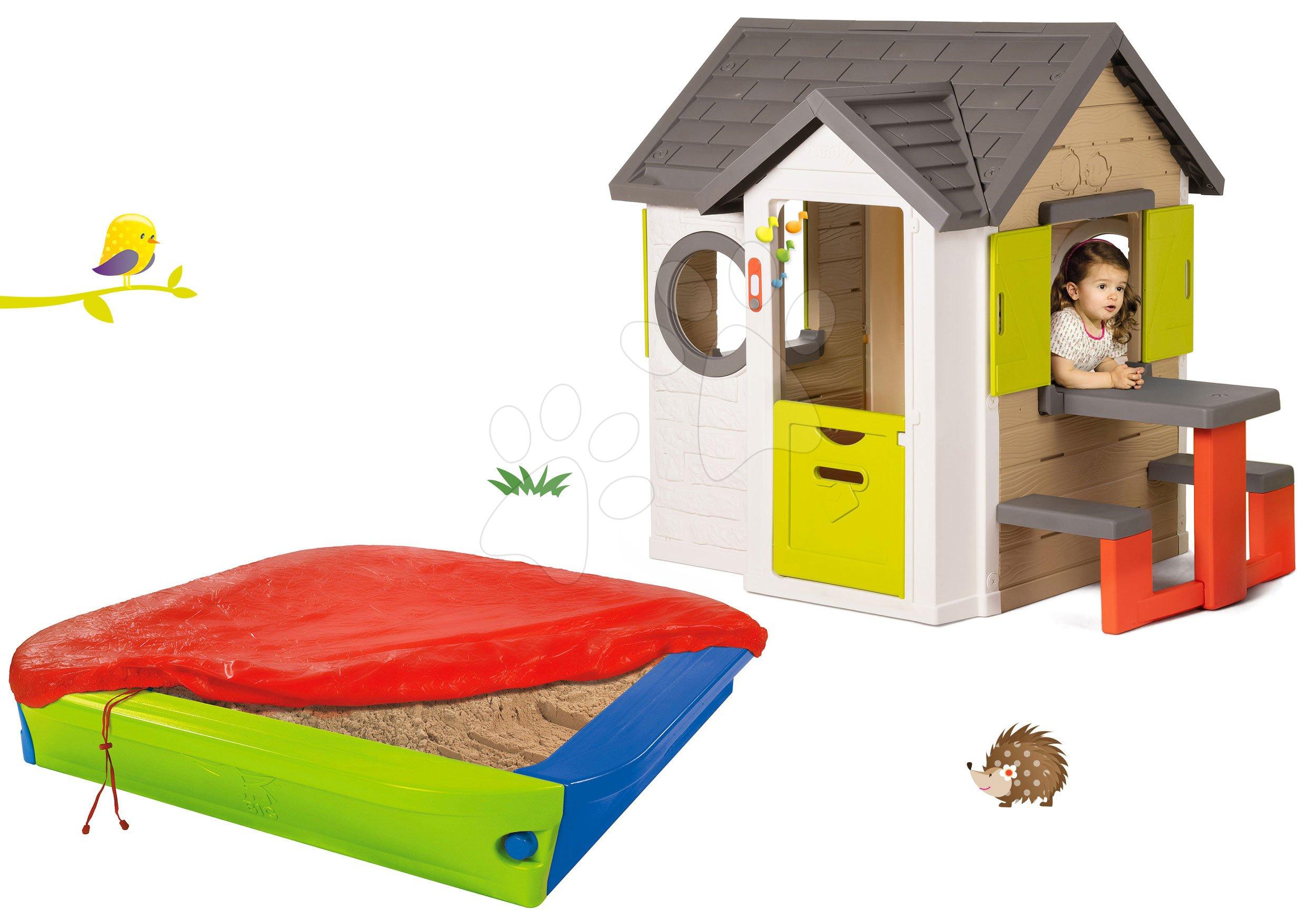 Smoby set detský domček My House Smoby so zvončekom a pieskovisko s krycou plachtou 810401-21