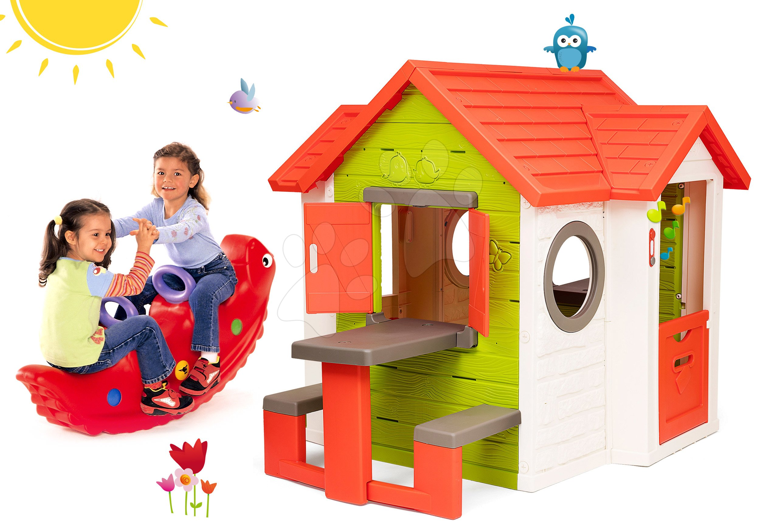 Set domček My Neo House DeLuxe Smoby so zvončekom stolíkom a hojdačka dinosaurus obojstranná od 24 mes