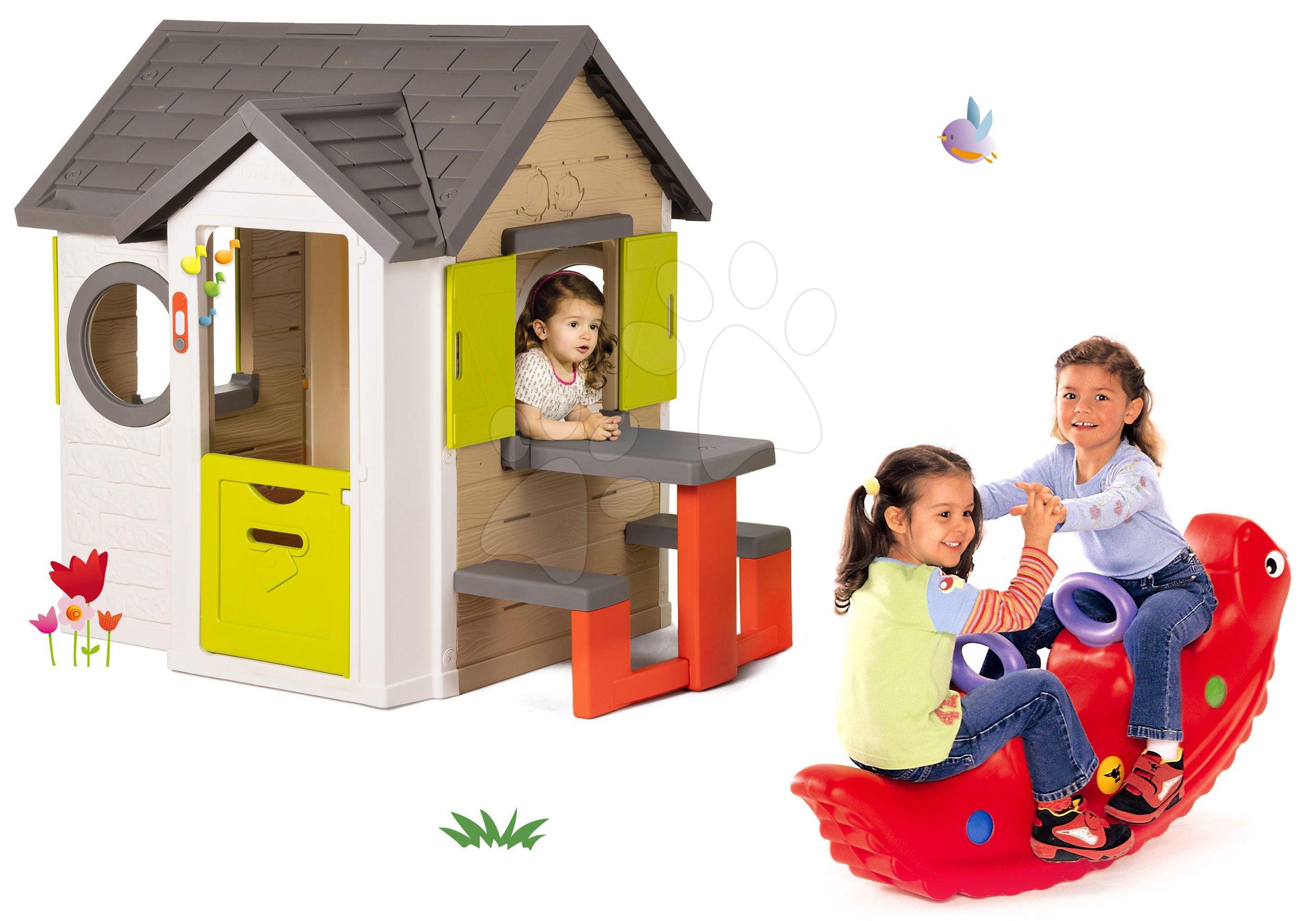Smoby set detský domček My House Smoby so zvončekom a obojstranná hojdačka dinosaurus 810401-23