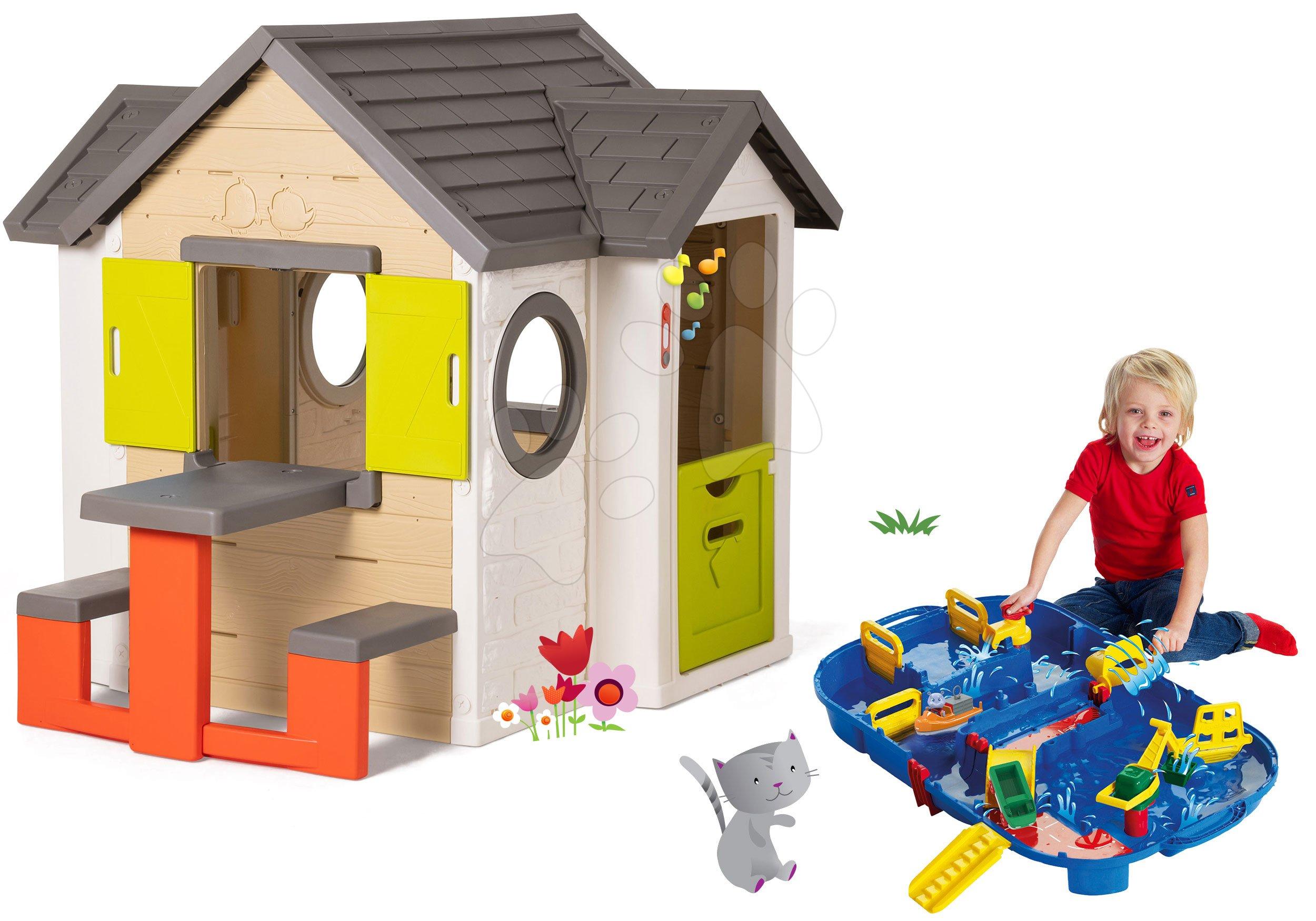Smoby set detský domček My House so zvončekom a vodná dráha Aquaplay Lock Box v kufríku 810401-28