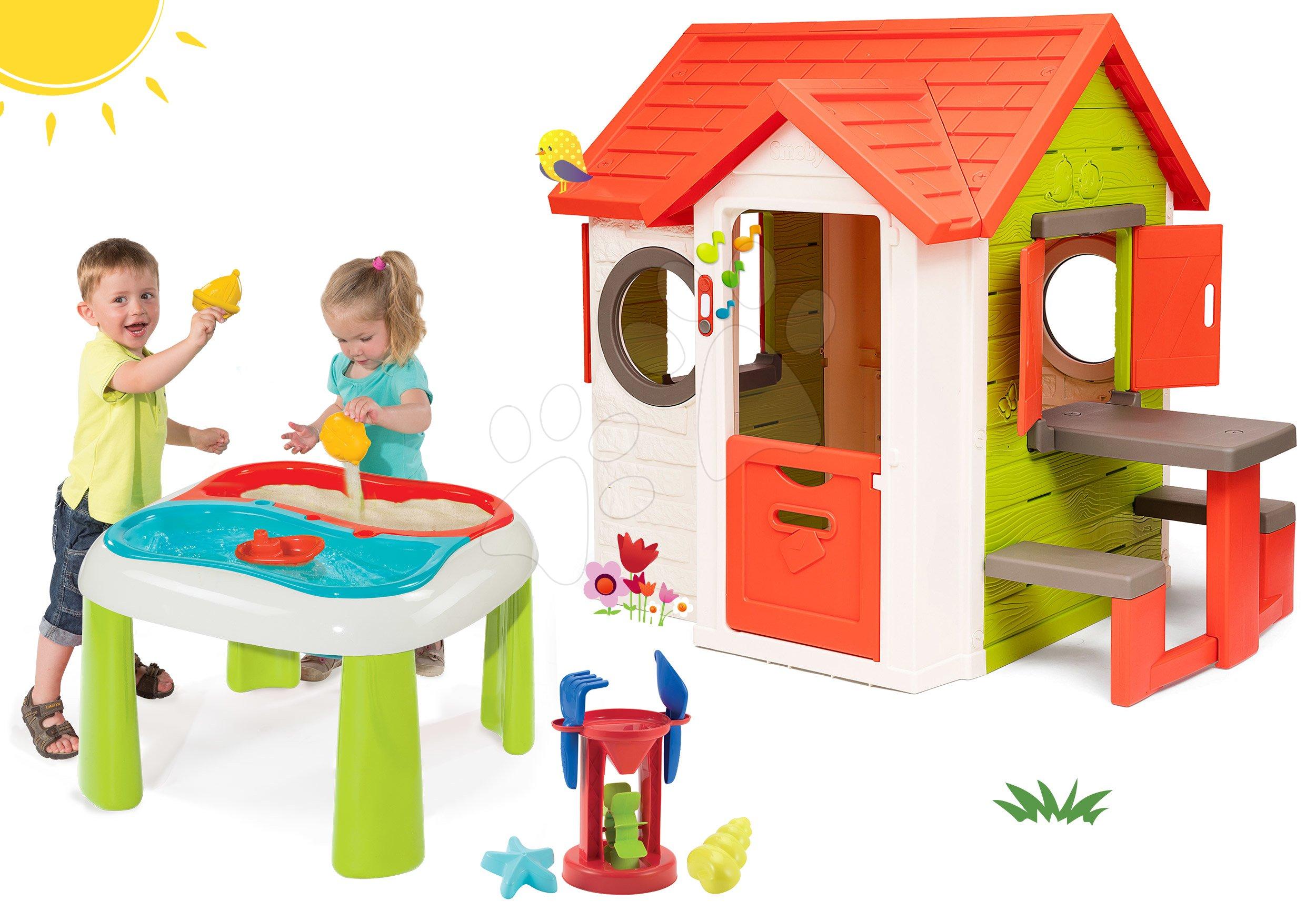 Set domeček My Neo House DeLuxe Smoby se zvonkem a zadním vchodem a multifunkční stolek Voda & Písek 2v1 od 24 měs