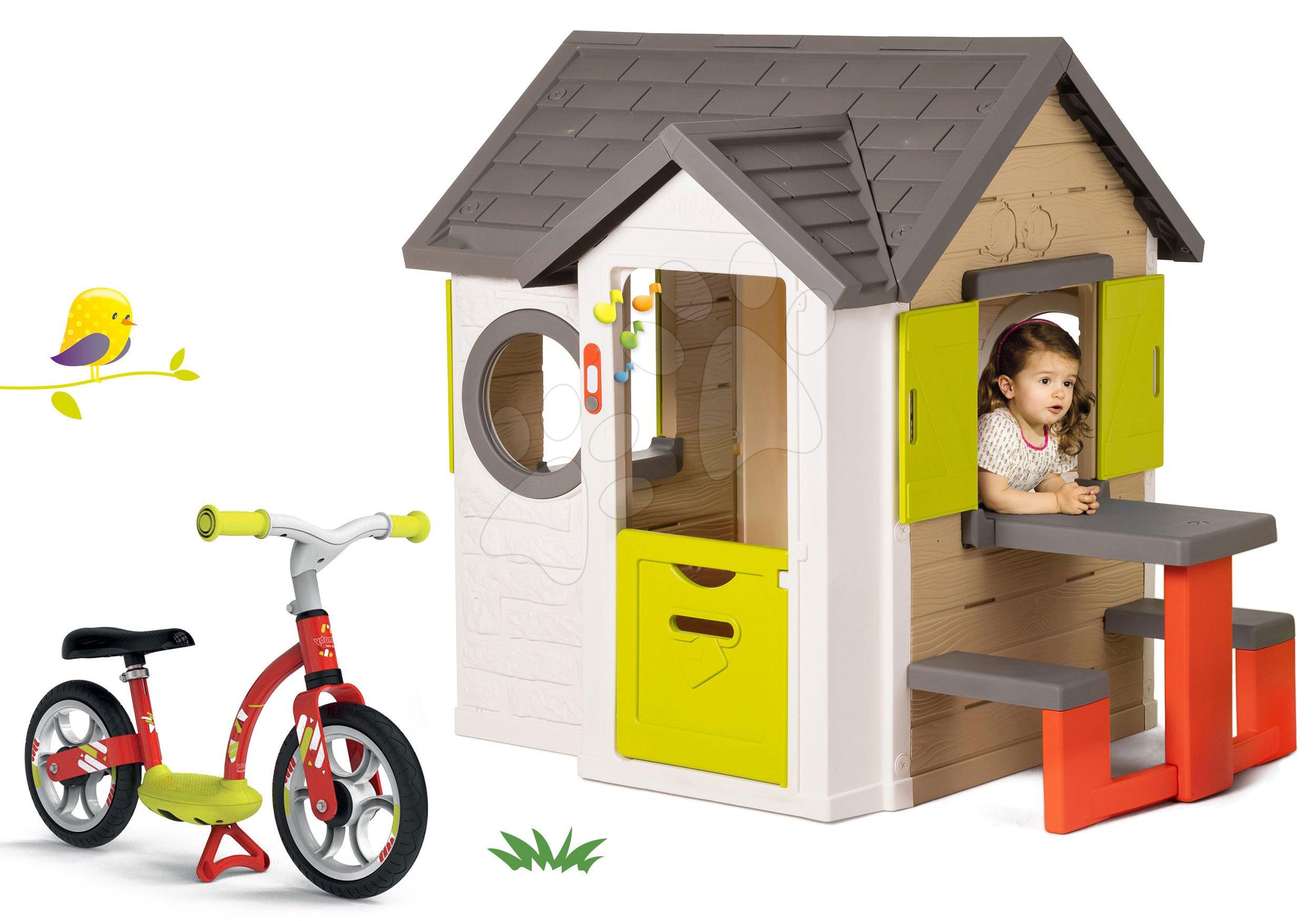 Set domeček My Neo House DeLuxe Smoby se zvonkem a zadním vchodem a balanční odrážedlo od 24 měs