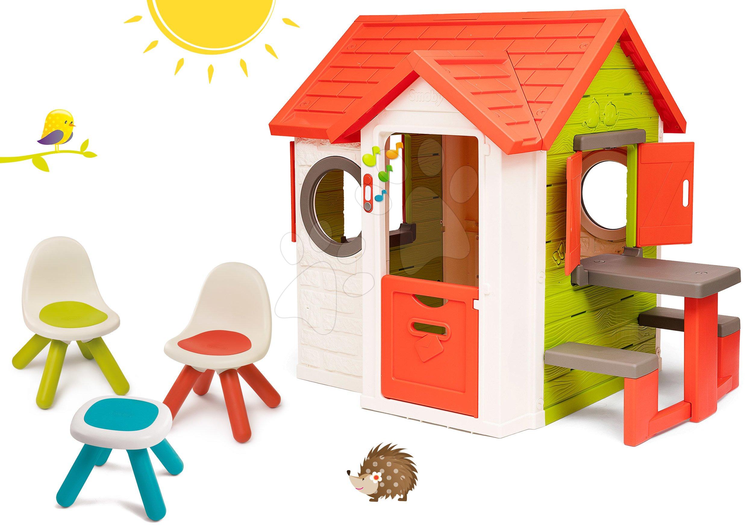 Set domeček My Neo House DeLuxe Smoby se zvonkem a zadním vchodem a piknikový stůl s židlemi KidChair od 24 měs