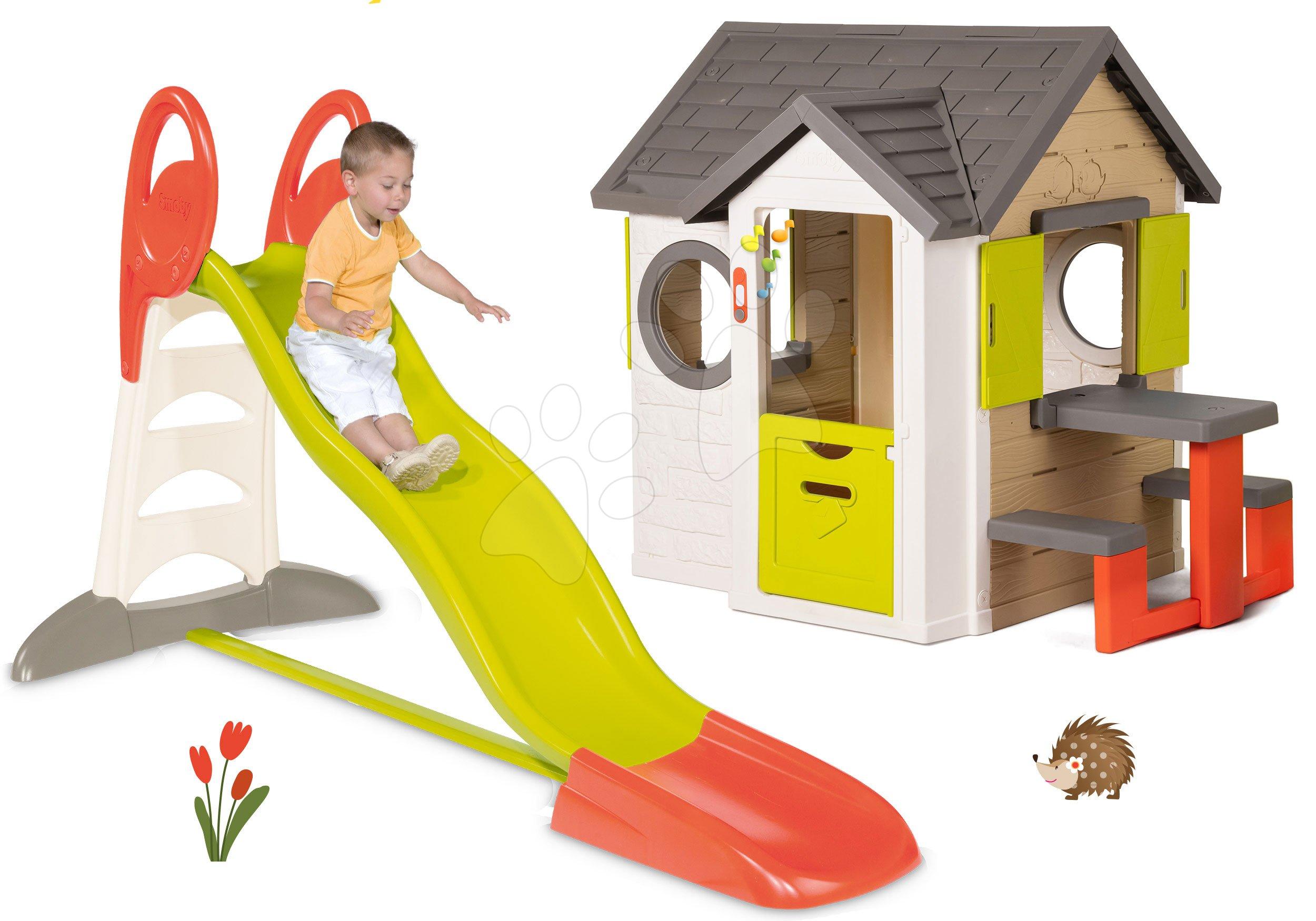 Domčeky so šmykľavkou - Set domček My Neo House DeLuxe Smoby so zvončekom a zadným vchodom a šmykľavka XL Toboggan s dĺžkou 2,3 m od 24 mes