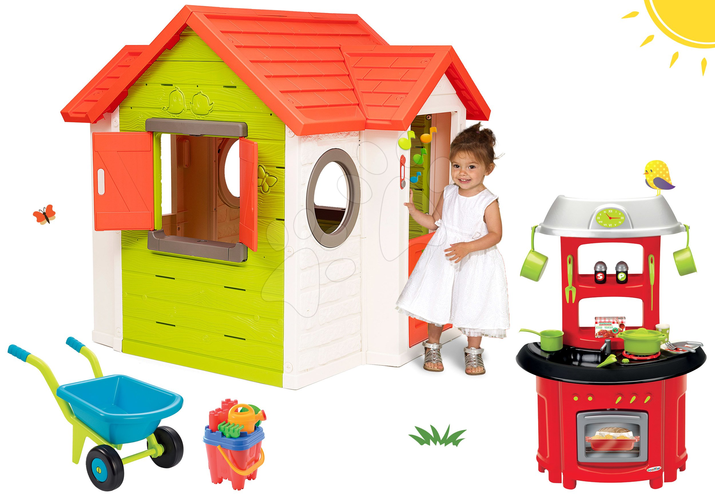Set domeček My Neo House DeLuxe Smoby s elektronickým zvonkem, kuchyňka 100% Chef Stove a kolečko s kbelík setem od 24 měsíců