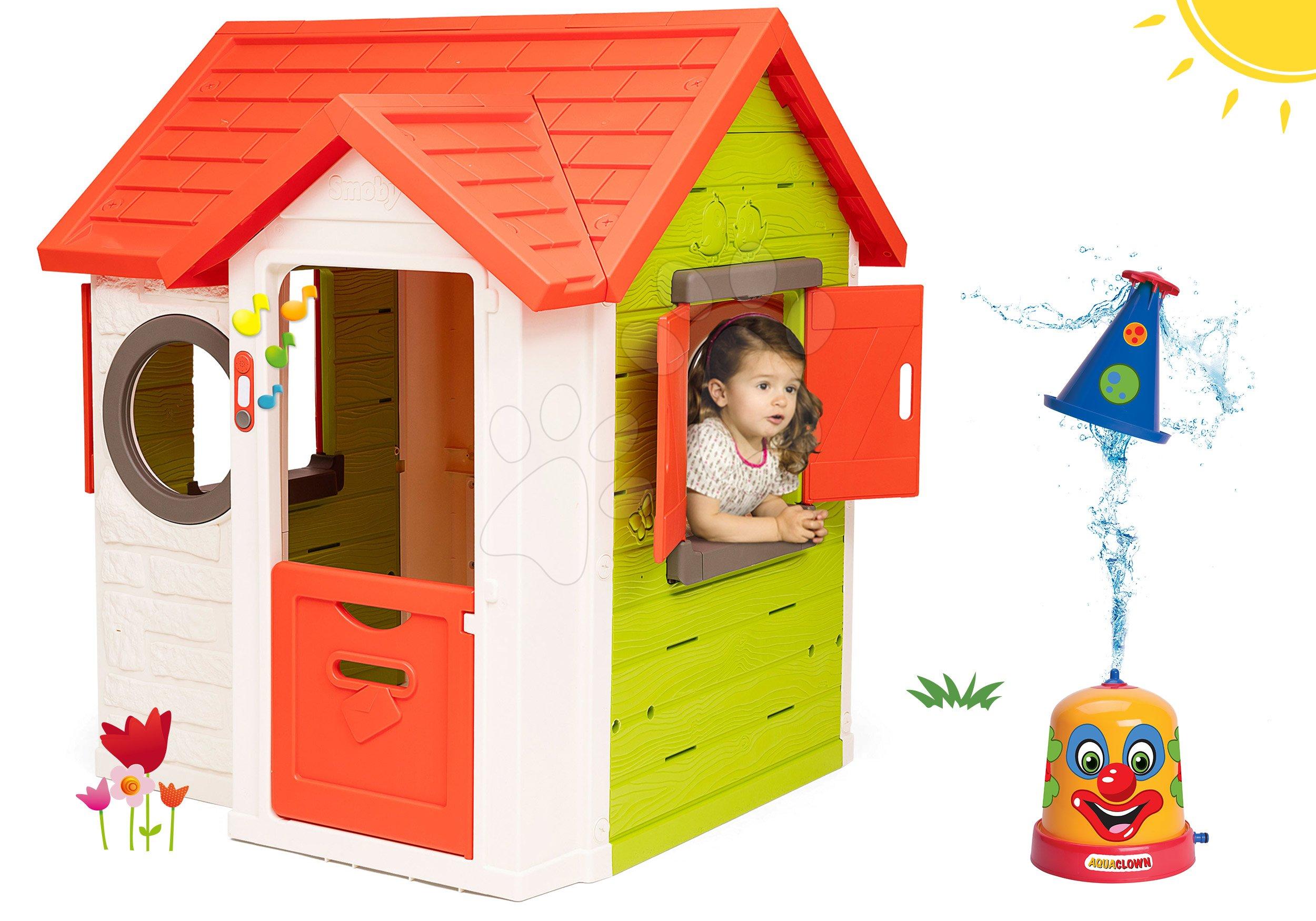 Set domeček My Neo House DeLuxe Smoby s elektronickým zvonkem a stříkací vodní klaun od 24 měsíců