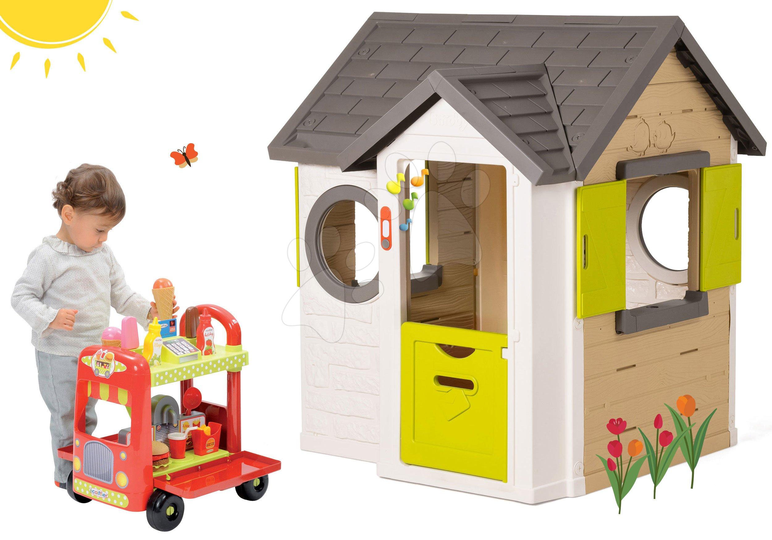Set domeček My Neo House DeLuxe Smoby s elektronickým zvonkem a vozík se zmrzlinou a hamburgery od 2 let