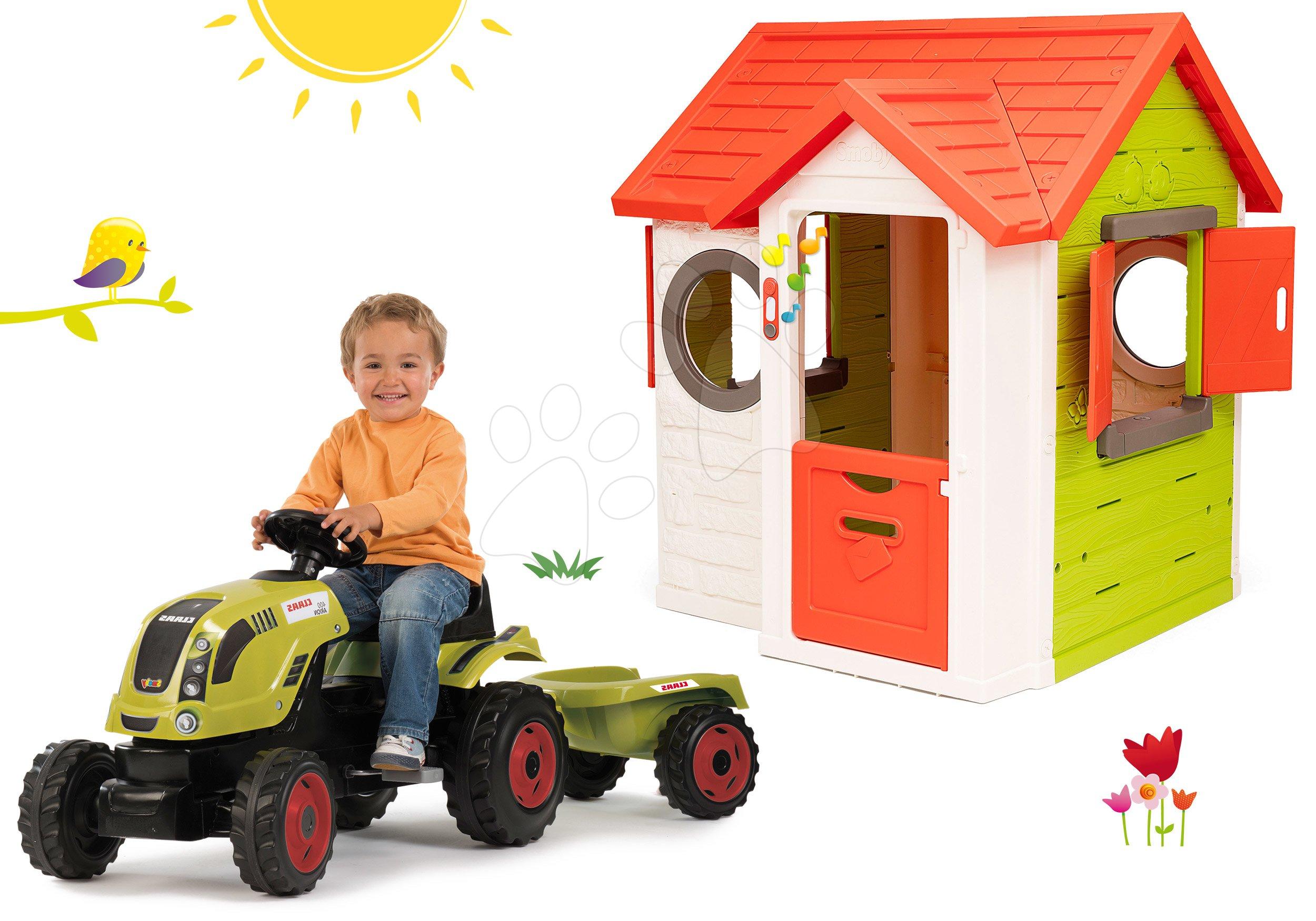 Set domeček My Neo House DeLuxe Smoby s elektronickým zvonkem a traktor Claas GM s přívěsem od 24 měs