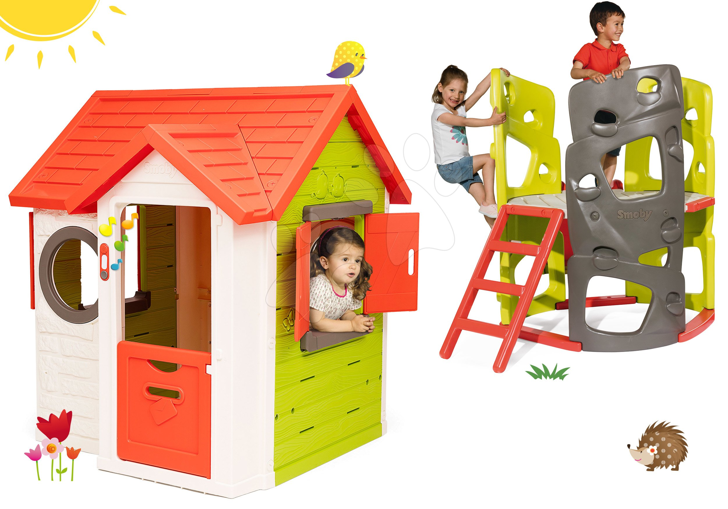 Set domeček My Neo House DeLuxe Smoby s 2 dveřmi a prolézačka Multiactivity Climbing Tower se skluzavkou od 24 měs
