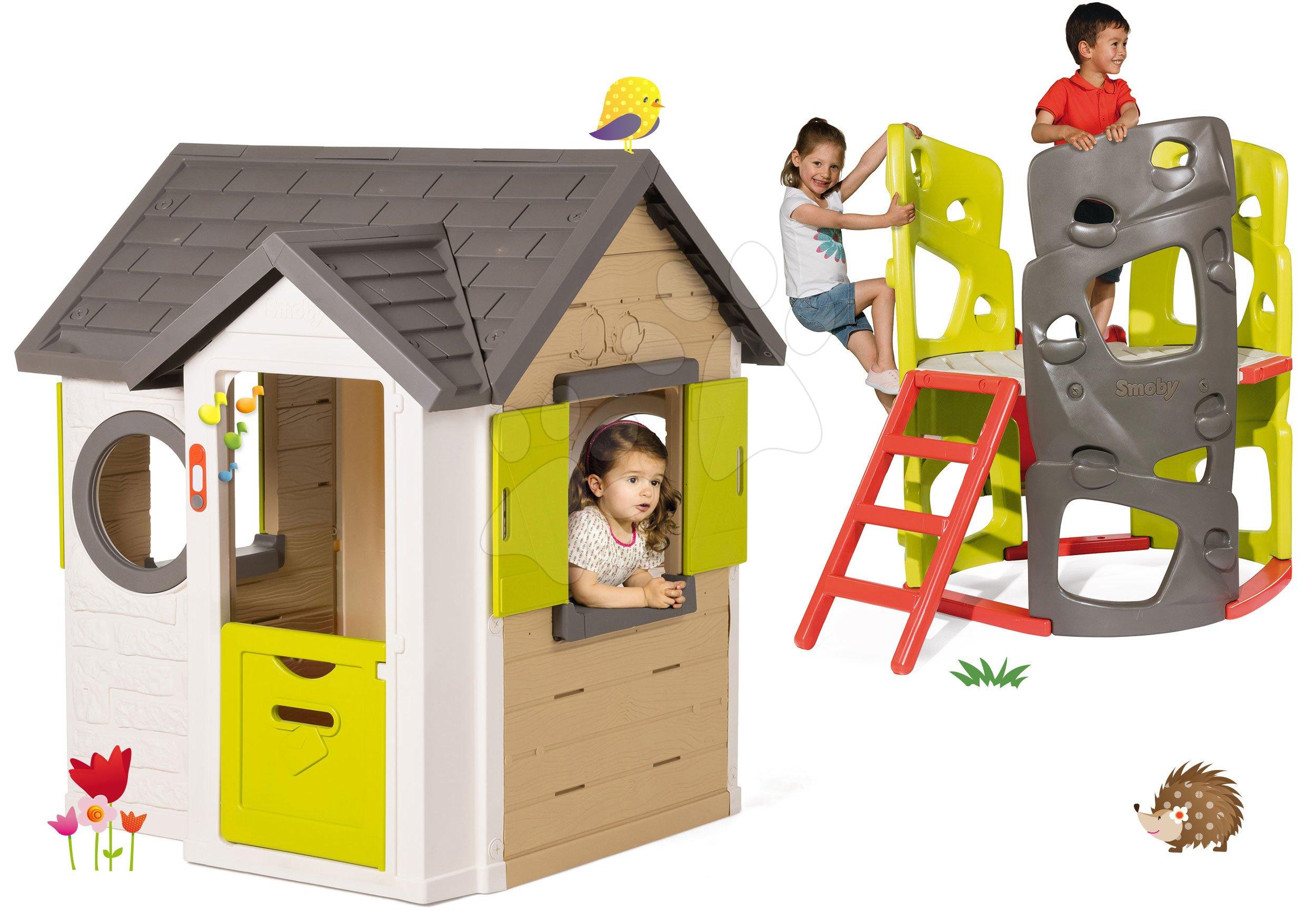 Smoby set domeček My House s 2 dveřmi a prolézačka Multi Activity Tower se skluzavkou 810402-19